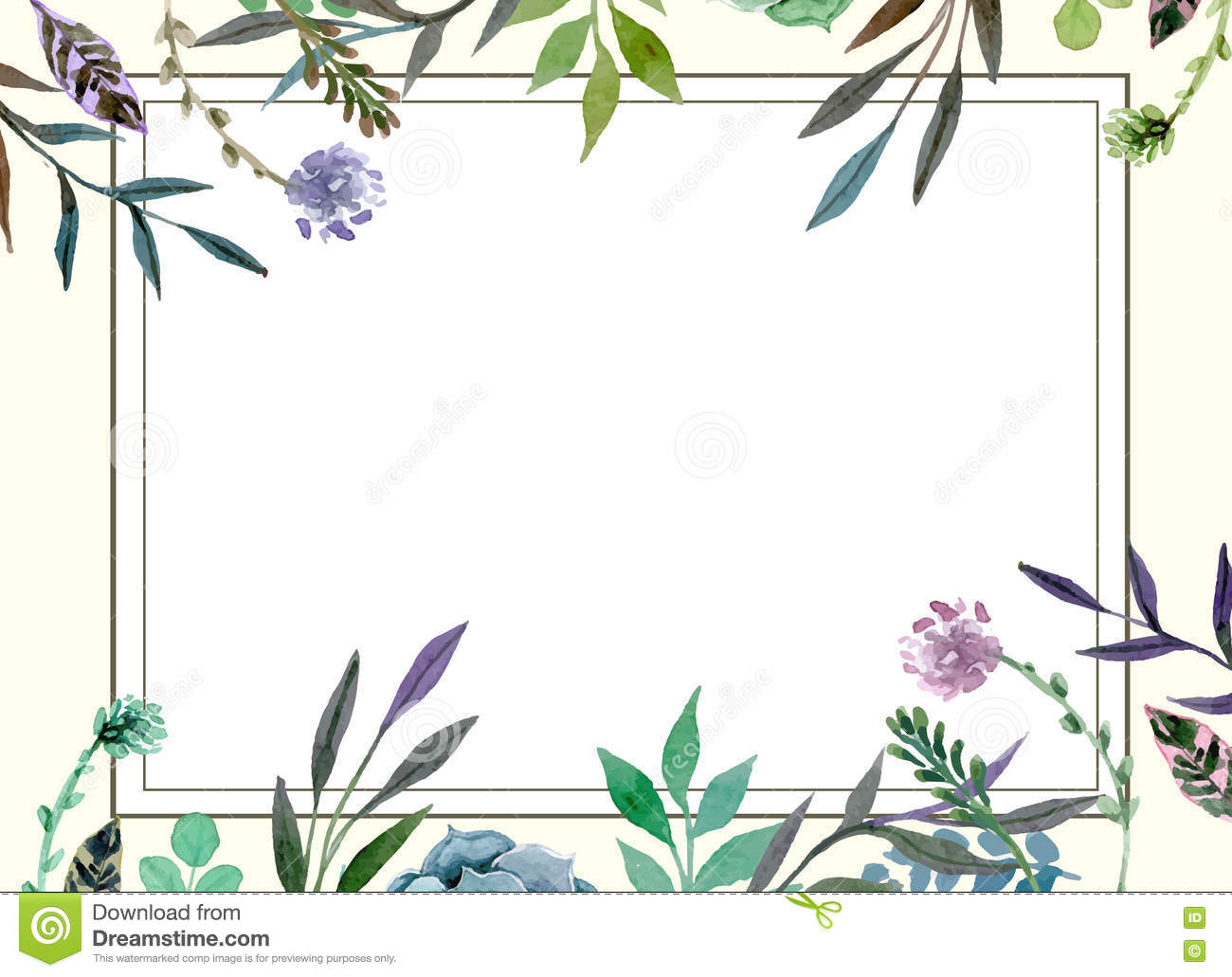 Floral Border Wedding Invitation Card Template Stock Illustration ...