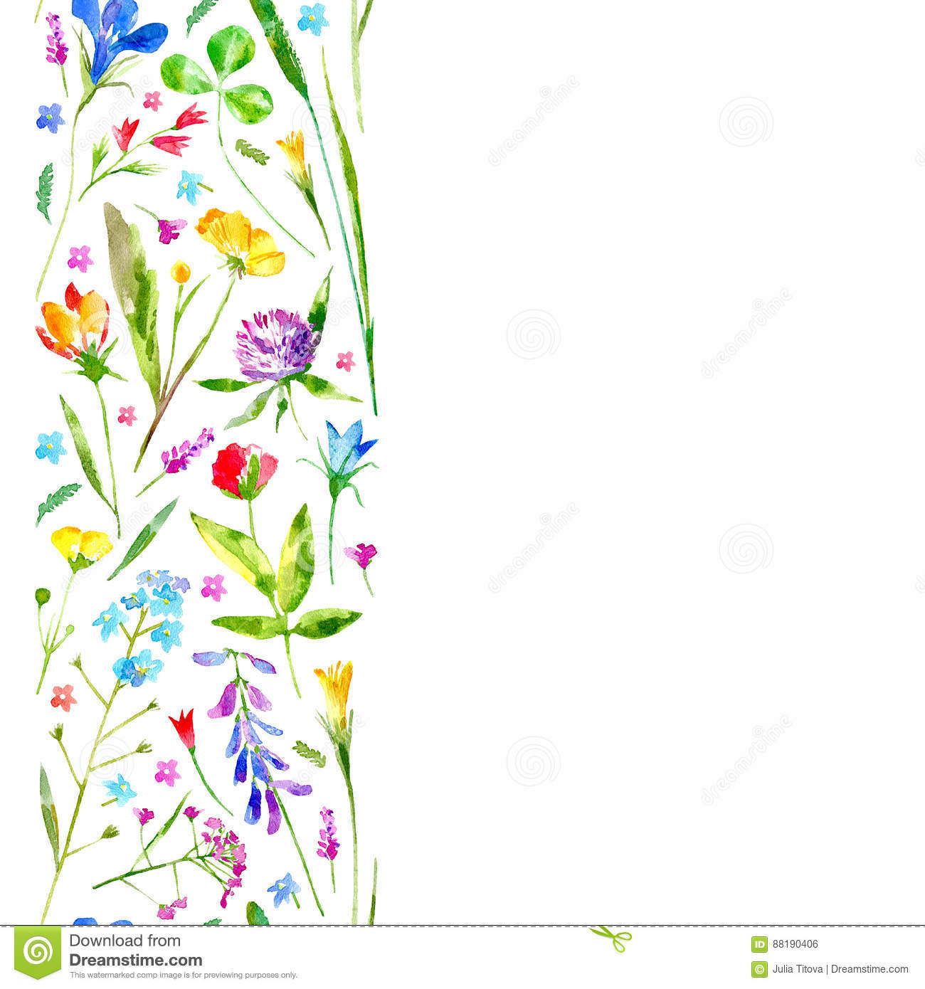 floral border of a wild flowers and herbs on a white background rh dreamstime com Hawaiian Flower Border Clip Art Hawaiian Flower Border Clip Art