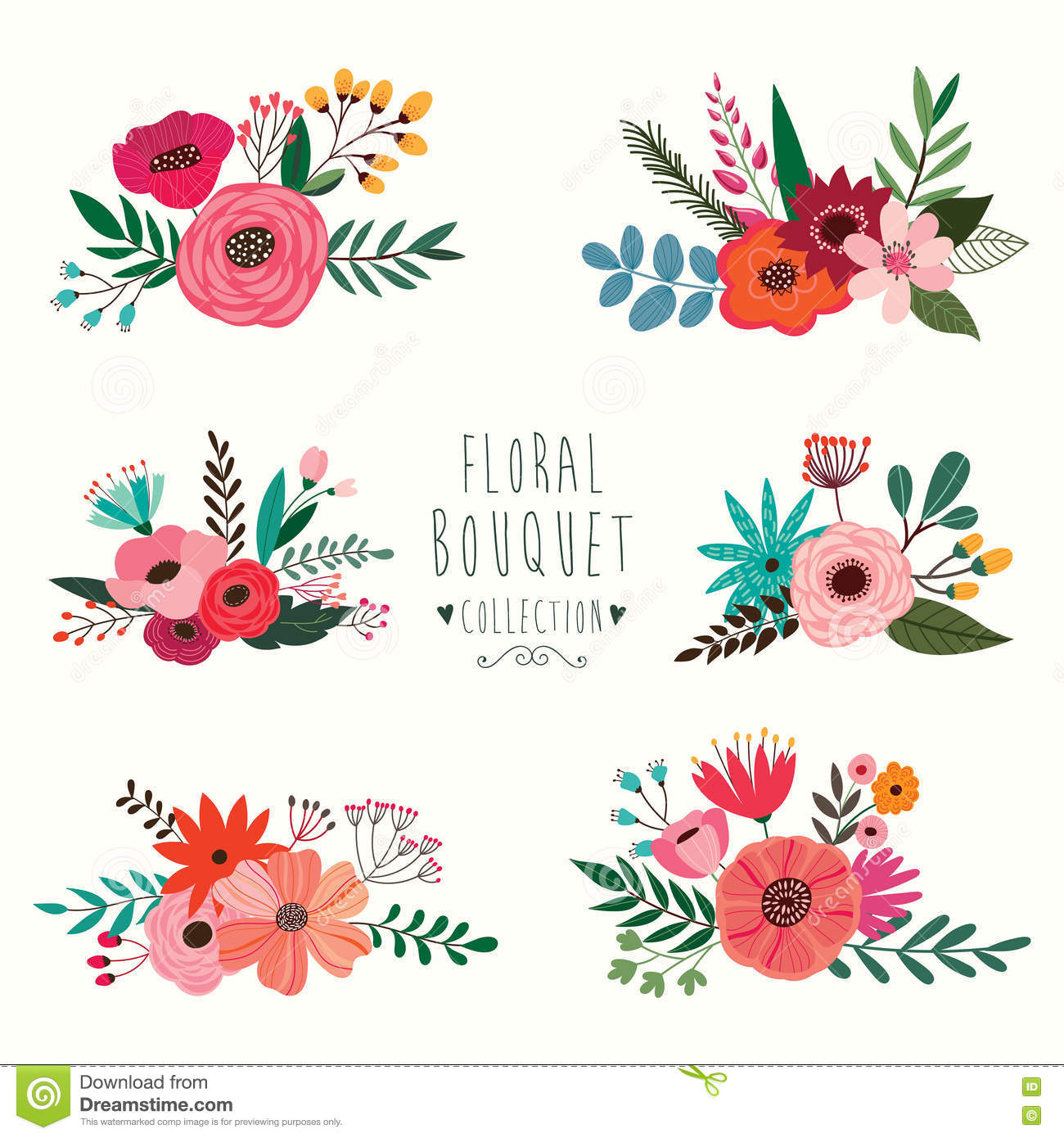 Floral Bouquet Collection Stock Vector Image 76734339