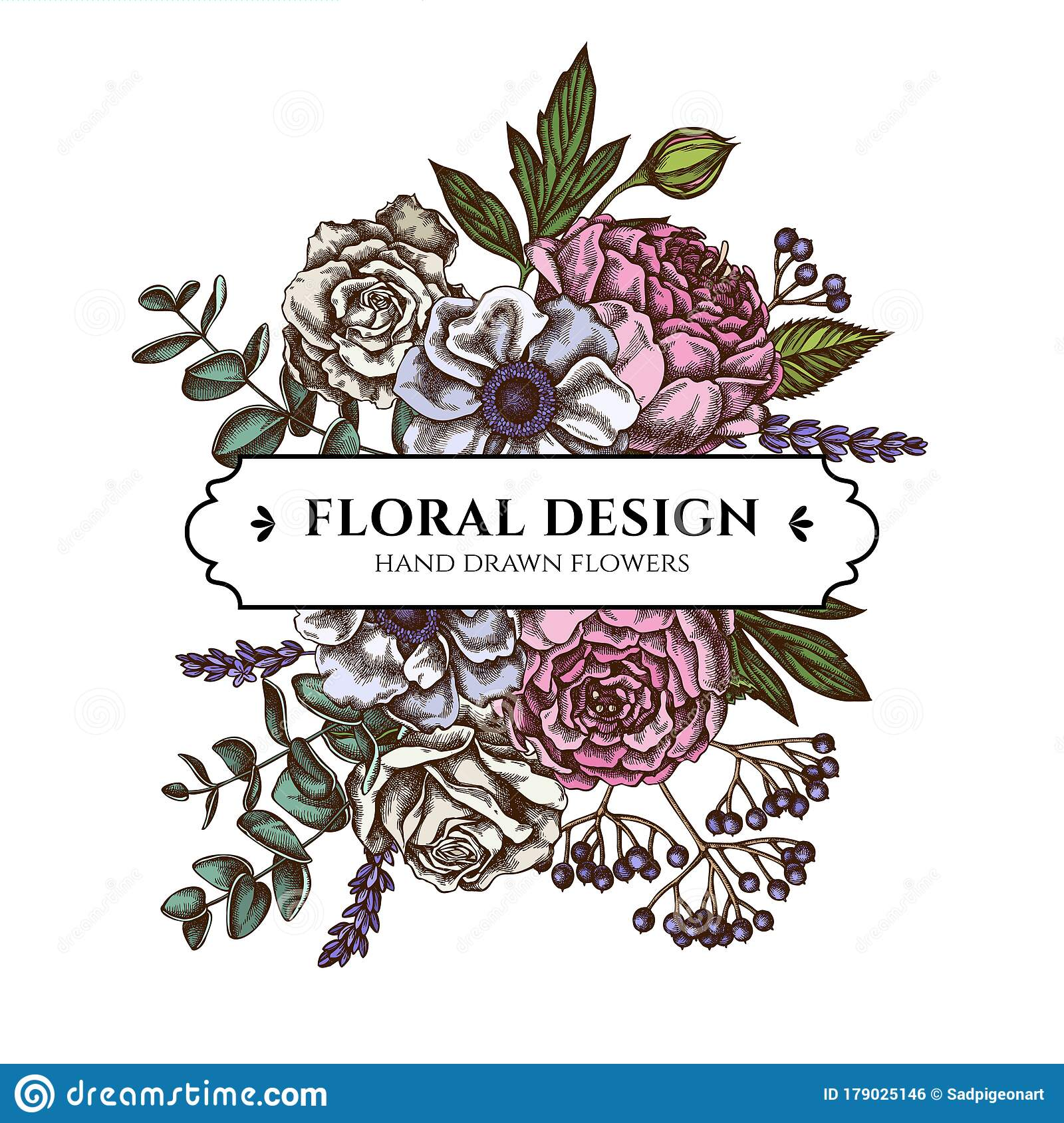 Floral Bouquet Design With Colored Roses Anemone Eucalyptus Lavender Peony Viburnum Stock Vector Illustration Of Design Bunch 179025146