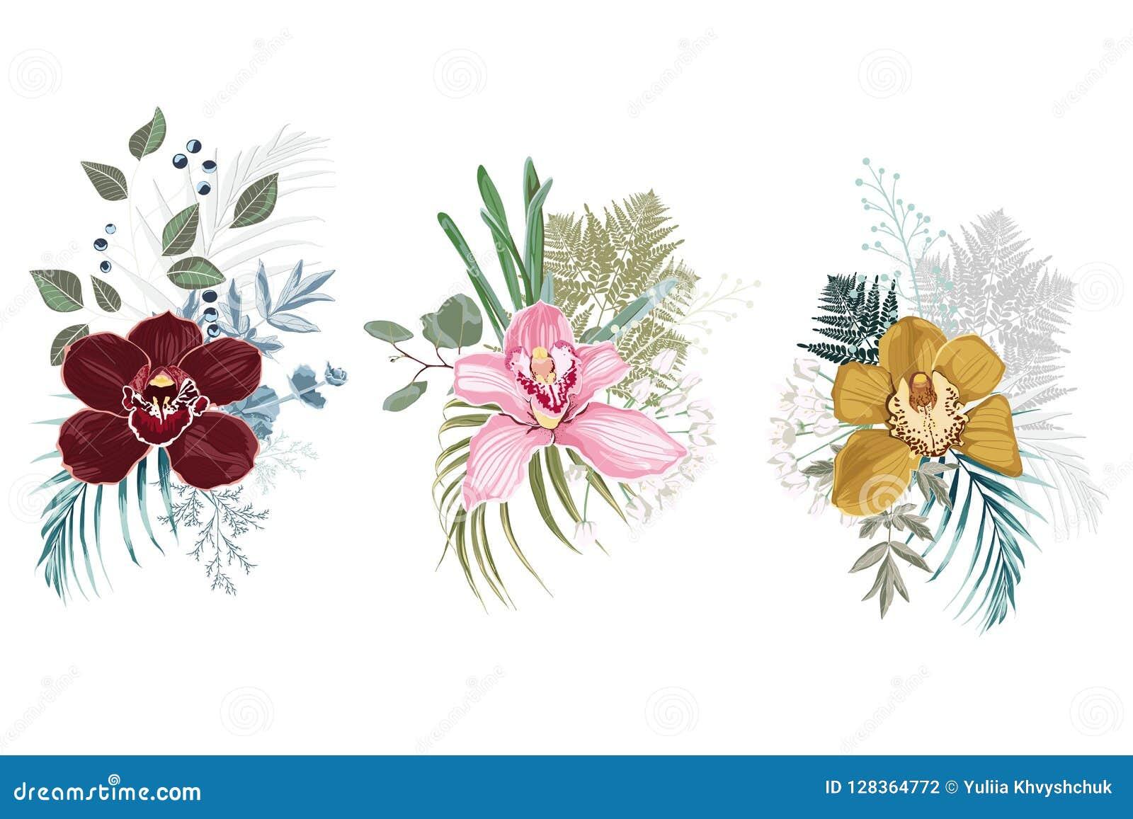 Floral bouquet design. Wedding vector invite card. Designer element set. White background.