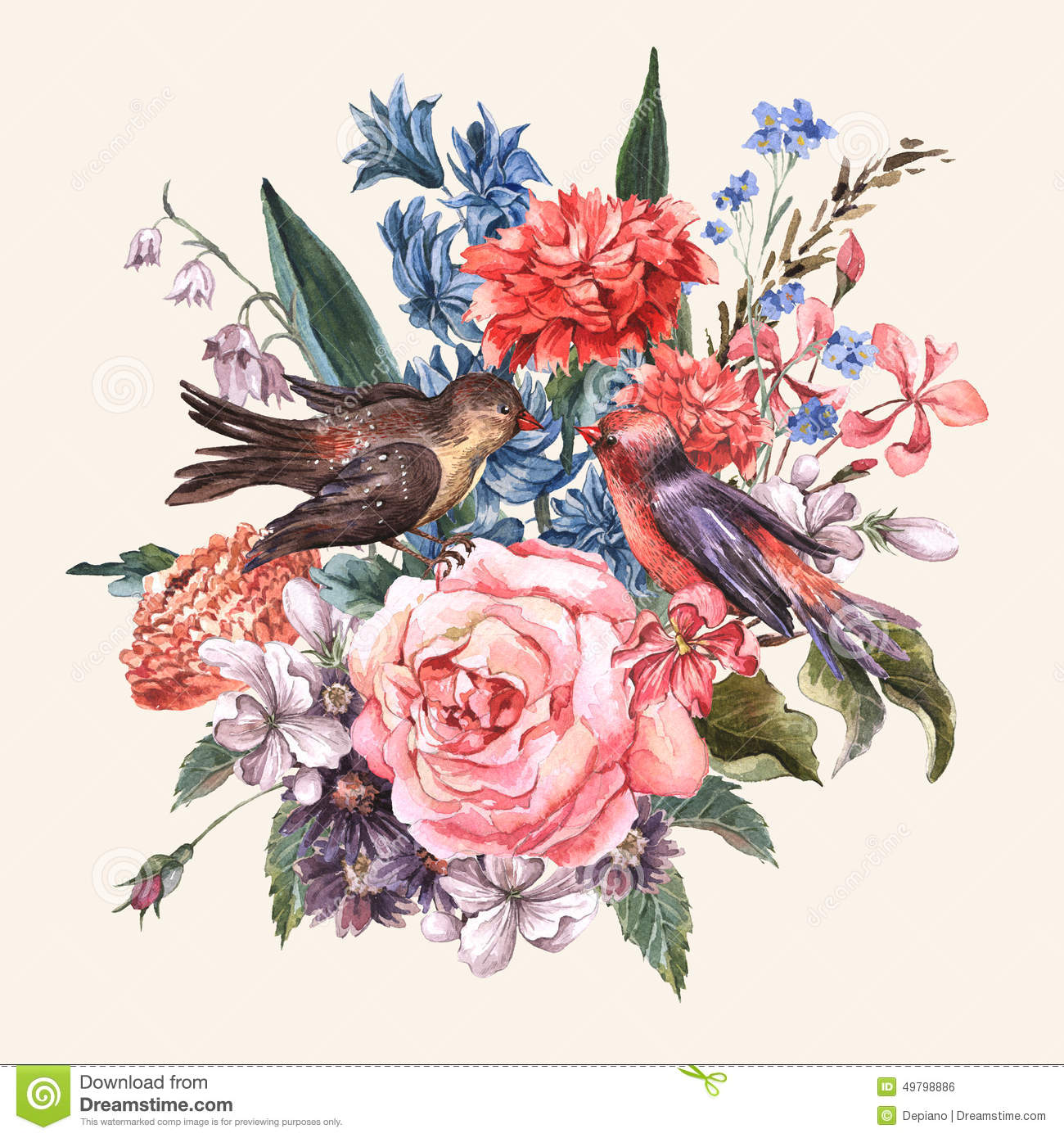 Frame design for wedding invitation vector border in victorian style - Floral Bouquet With Roses Hyacinths Birds Stock