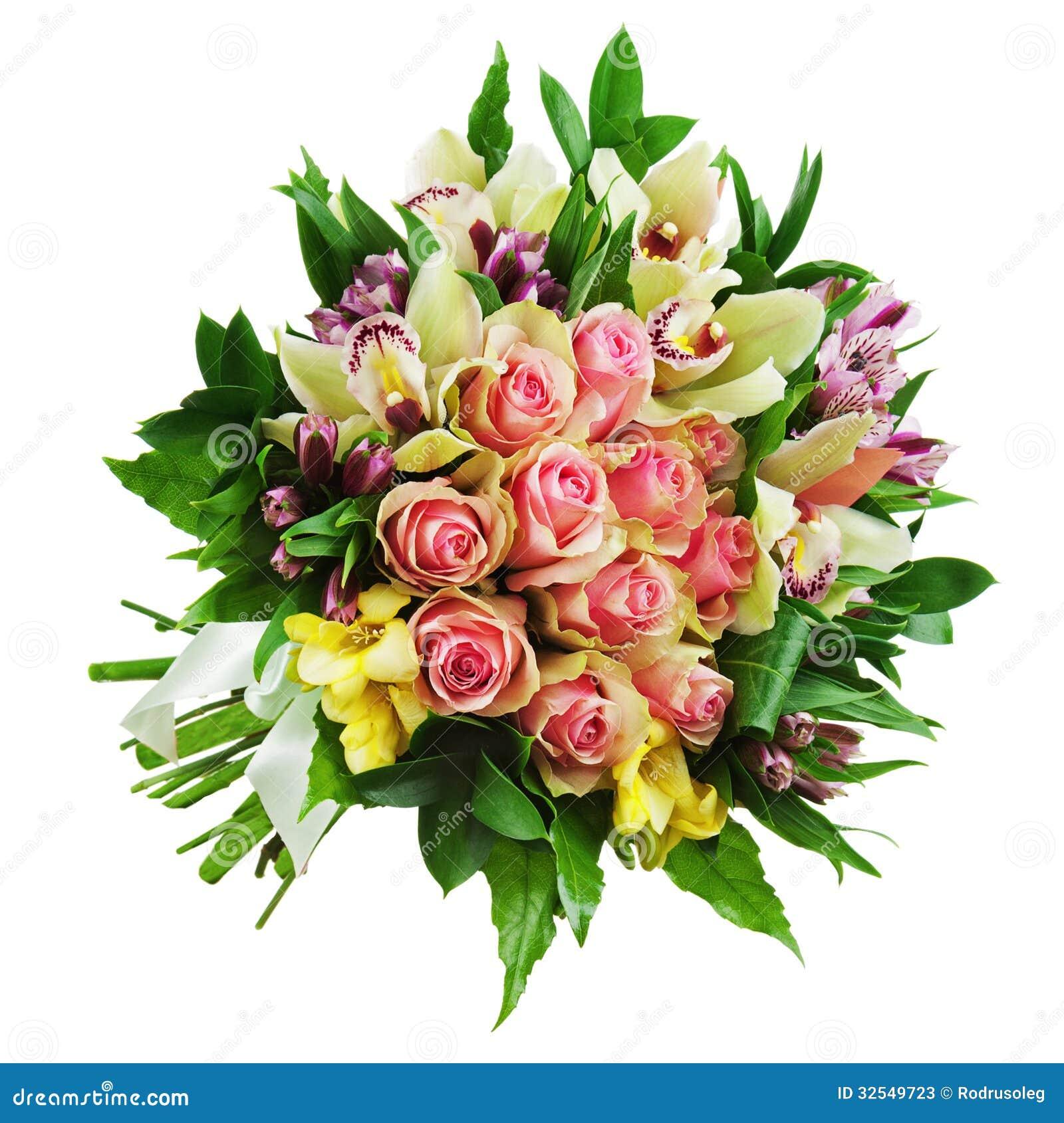 Floral Bouquet Of Roses Lilies And Orchids Arrangement Centerpi