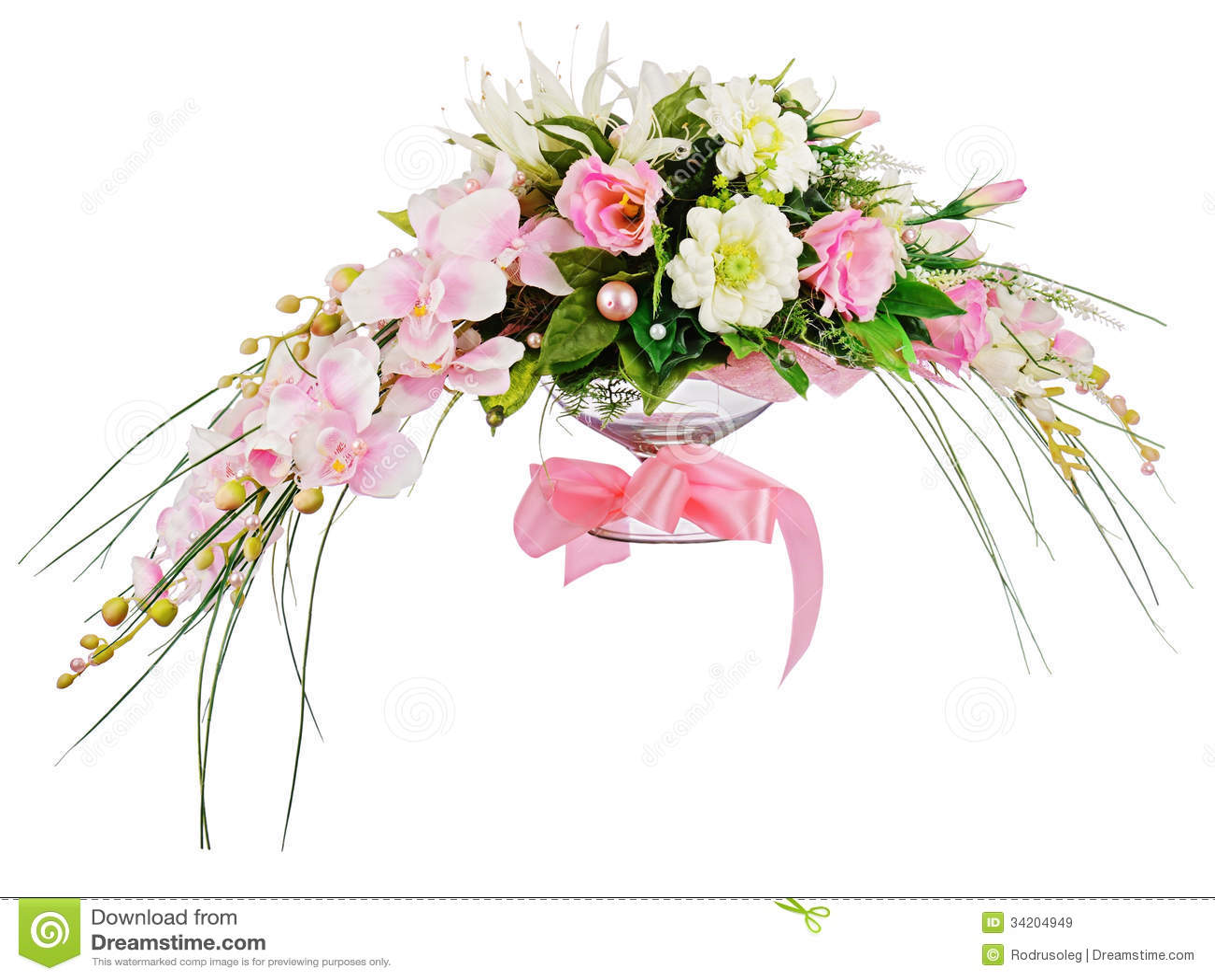 Floral Bouquet Of Roses And Orchids Arrangement