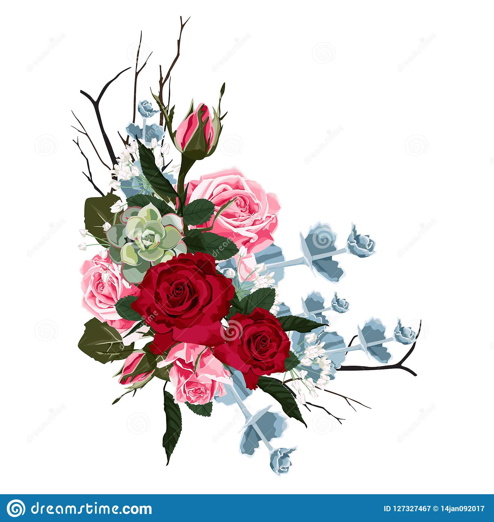 Floral Branch Flower Red Burgundy Rose Green Leaves And Succulents Stock Vector Illustration Of Rose Invite 127327467