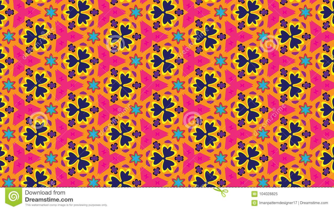 Floral bright vector pattern in spring colors