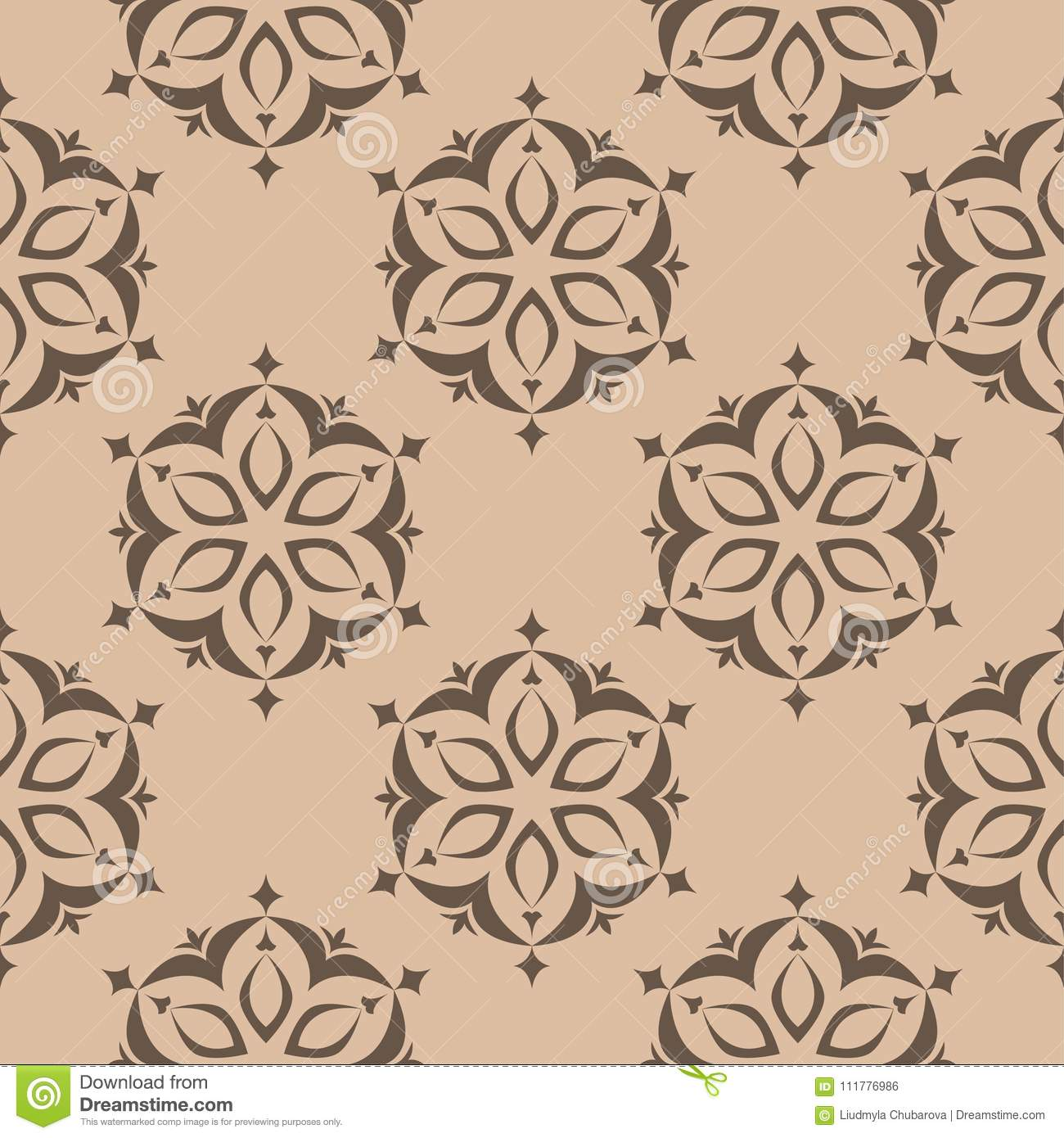 Floral brown seamless pattern. Background with fower elements for wallpapers
