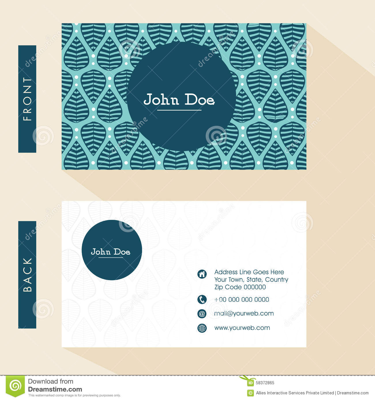 Floral Business Card Design. Stock Illustration - Illustration of ...