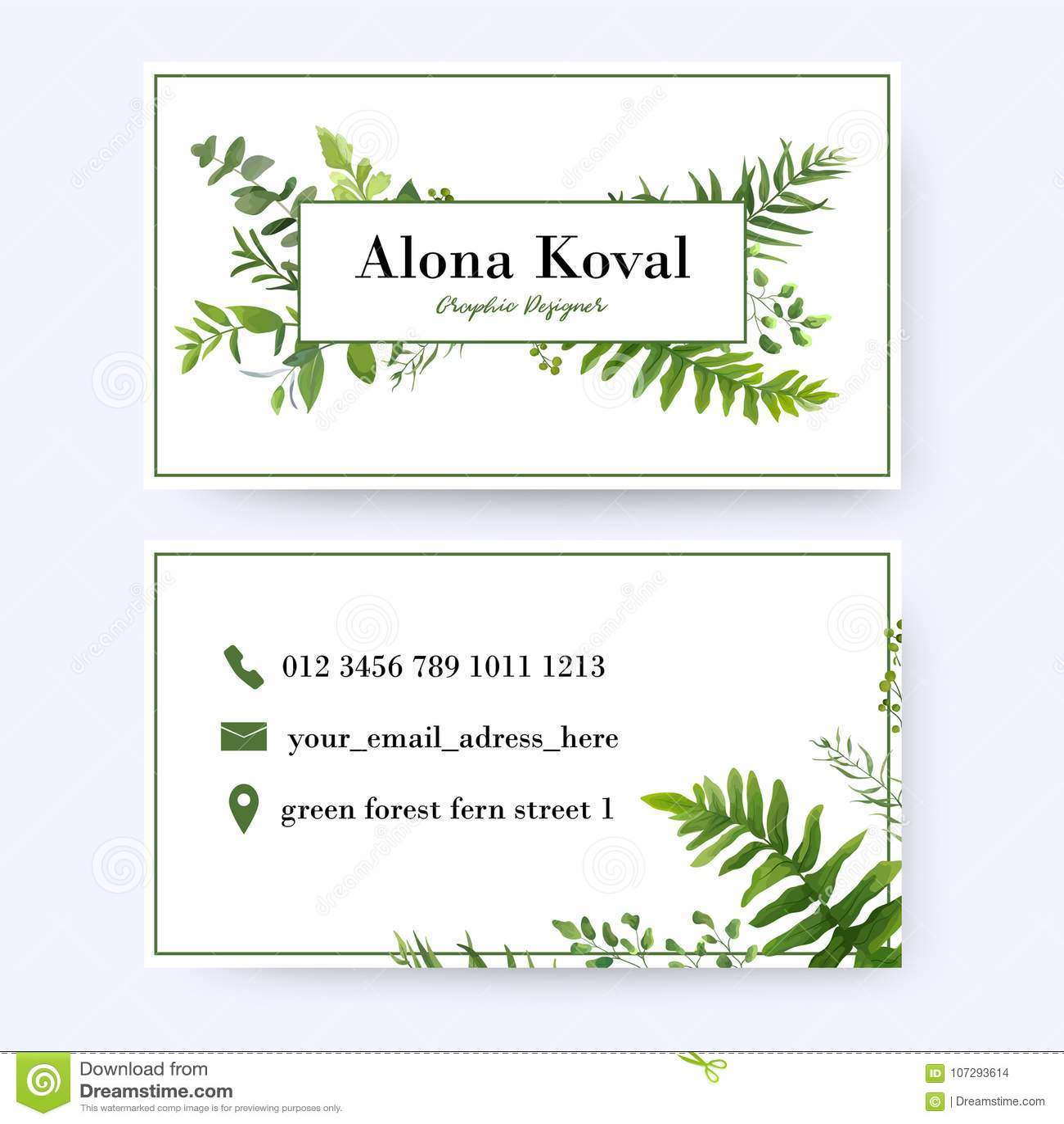 Floral Business Card Design  Vintage, Rustic Eucalyptus Green He