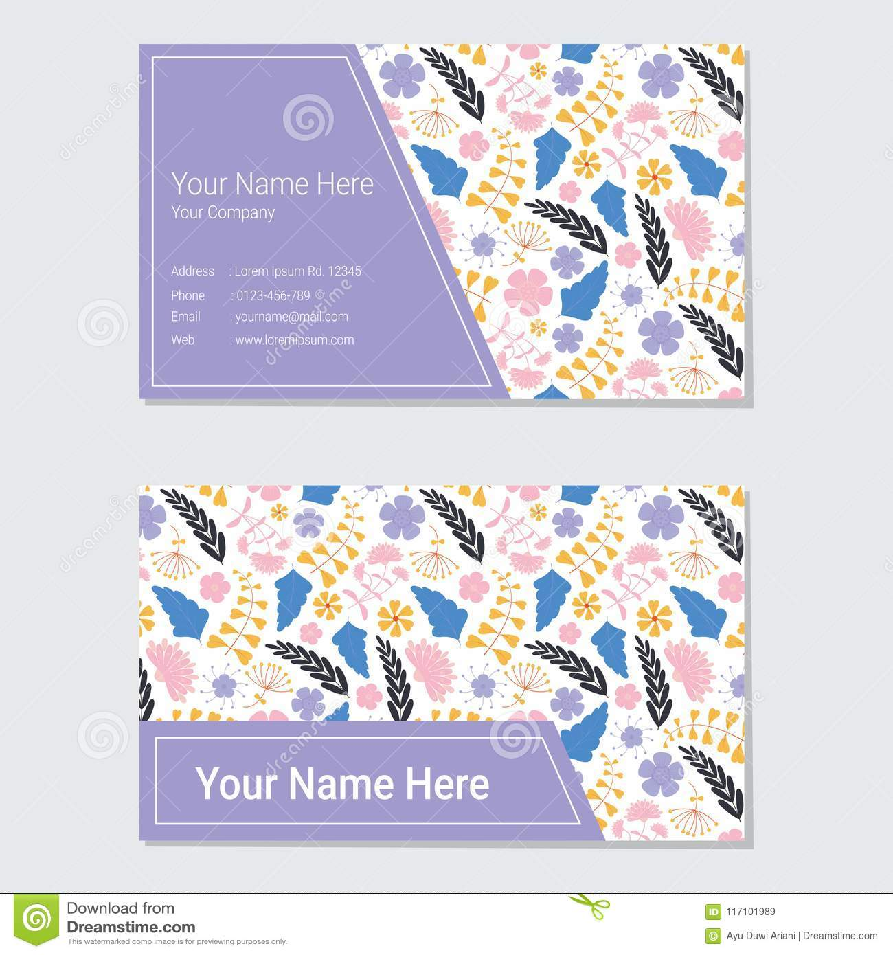 Floral business card template with pink and purple flower background download floral business card template with pink and purple flower background stock illustration illustration of accmission Choice Image