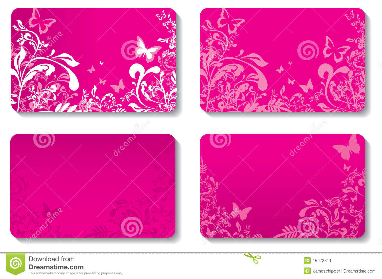 Floral business cards stock vector. Image of design, business ...