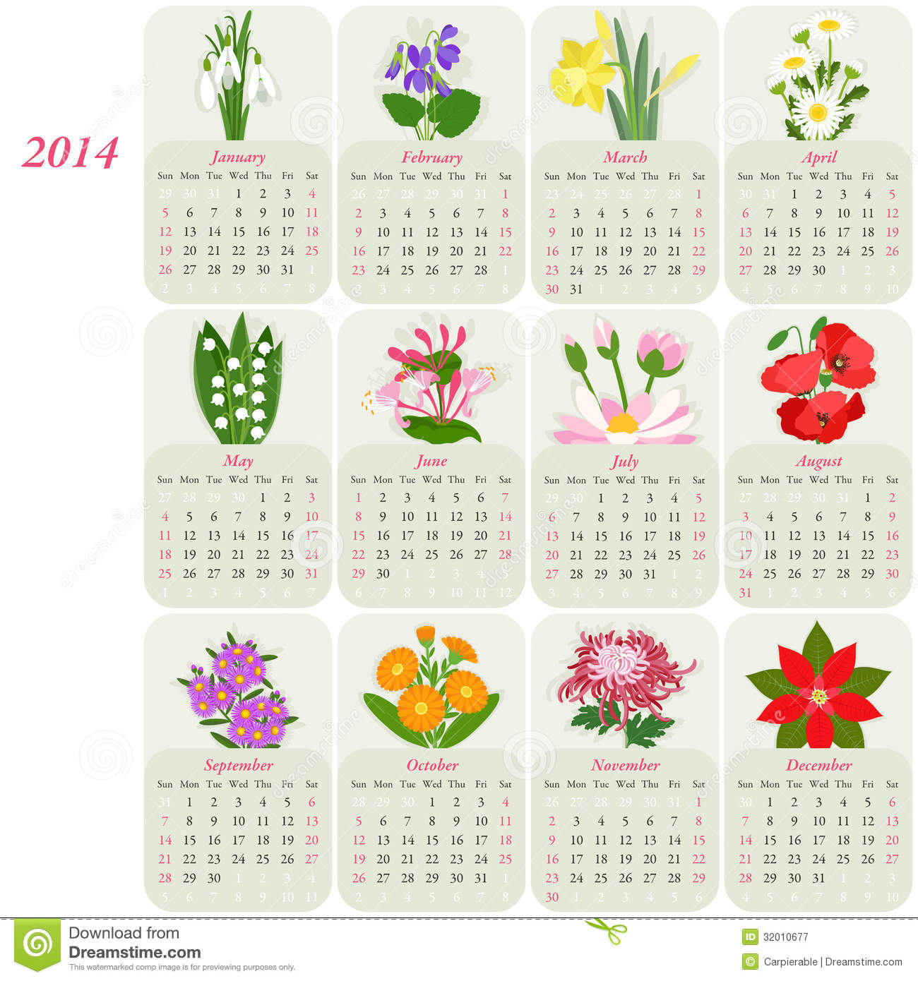2014 Floral Calendar Royalty Free Stock Photography - Image: 32010677
