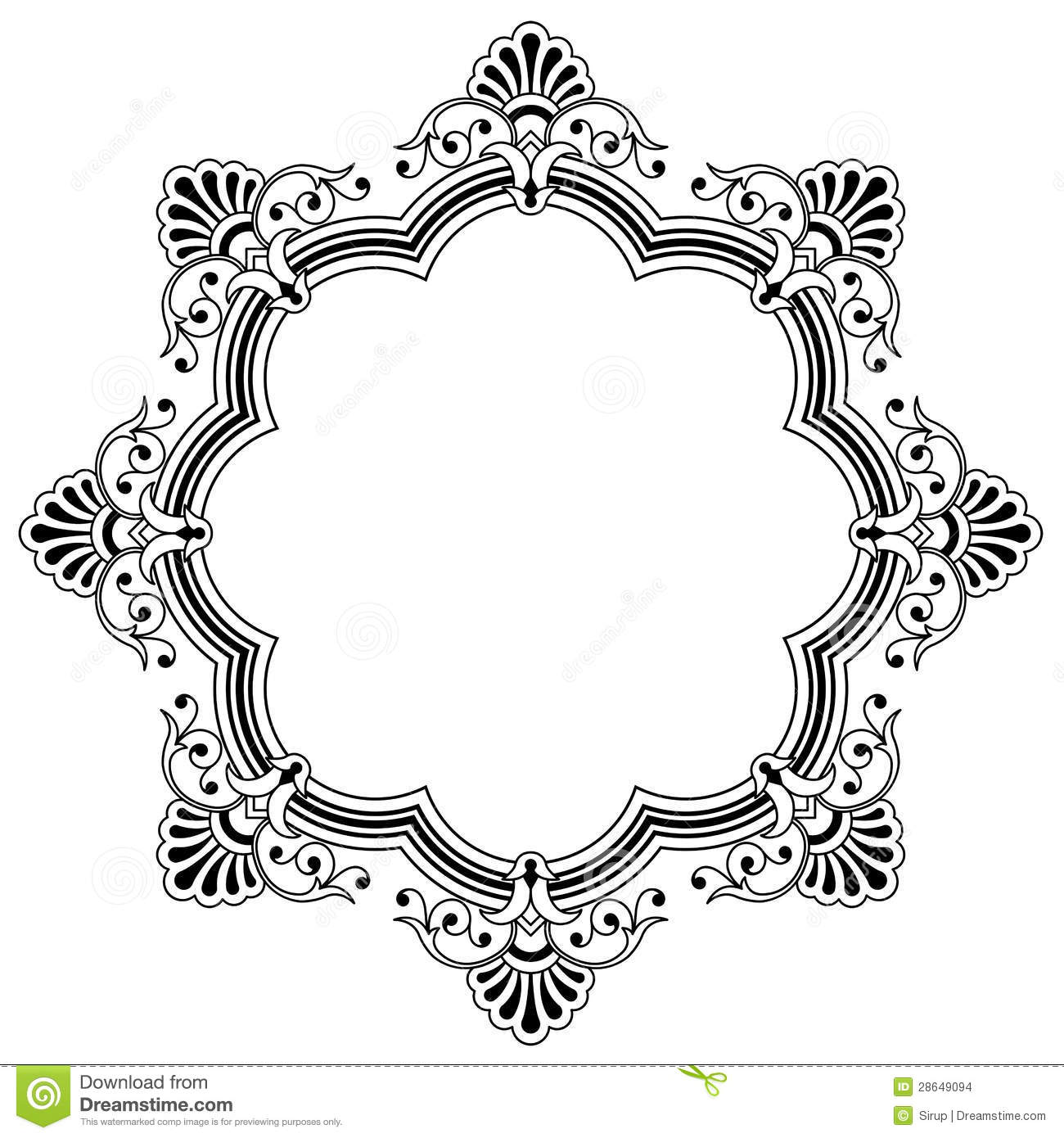Floral Calligraphic Border Stock Vector Illustration Of Bold