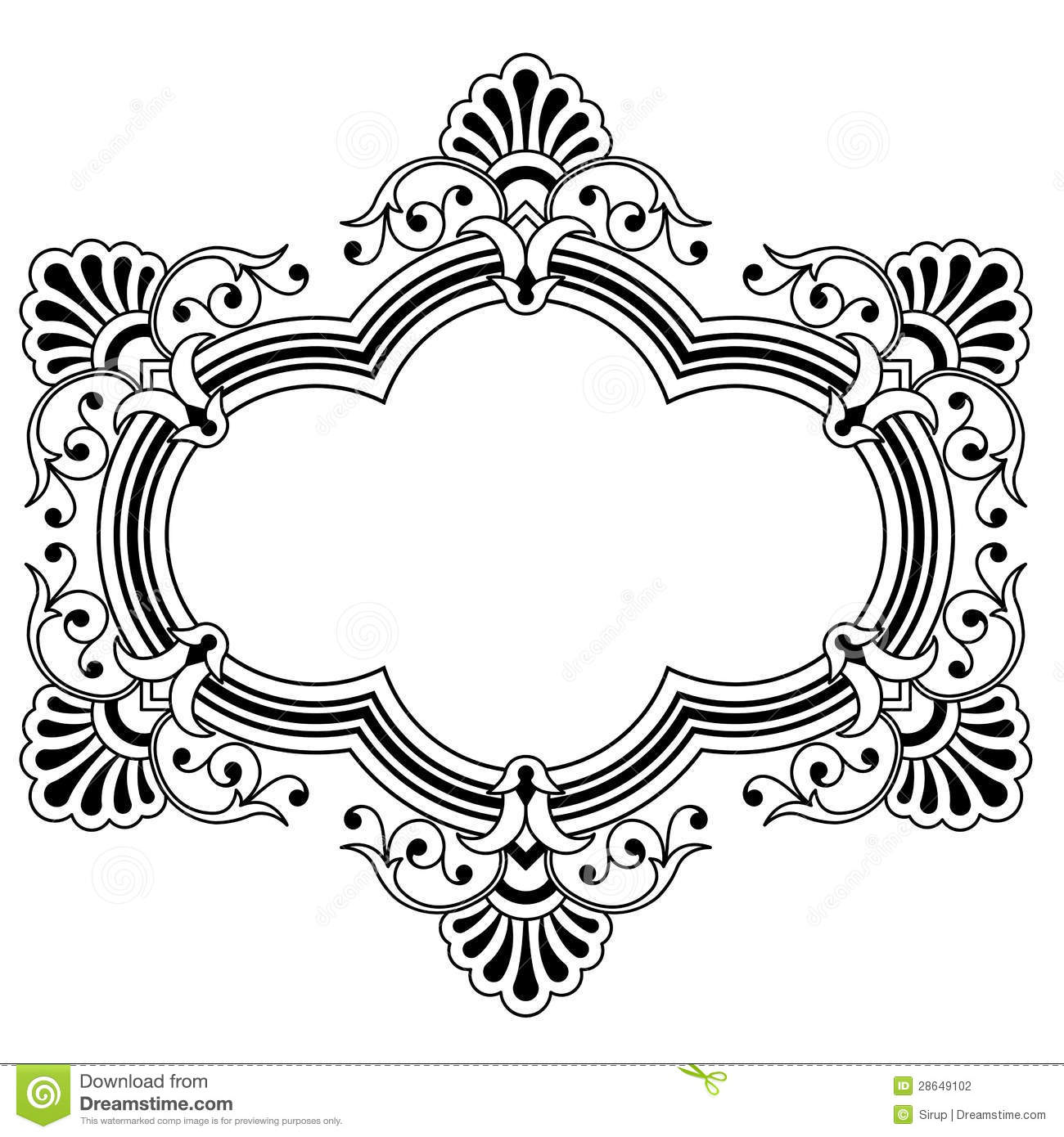 Floral Calligraphic Border Stock Vector Illustration Of