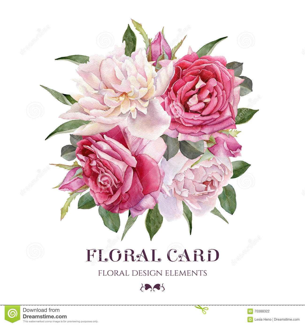 Floral Card Bouquet Of Watercolor Roses And White Peonies