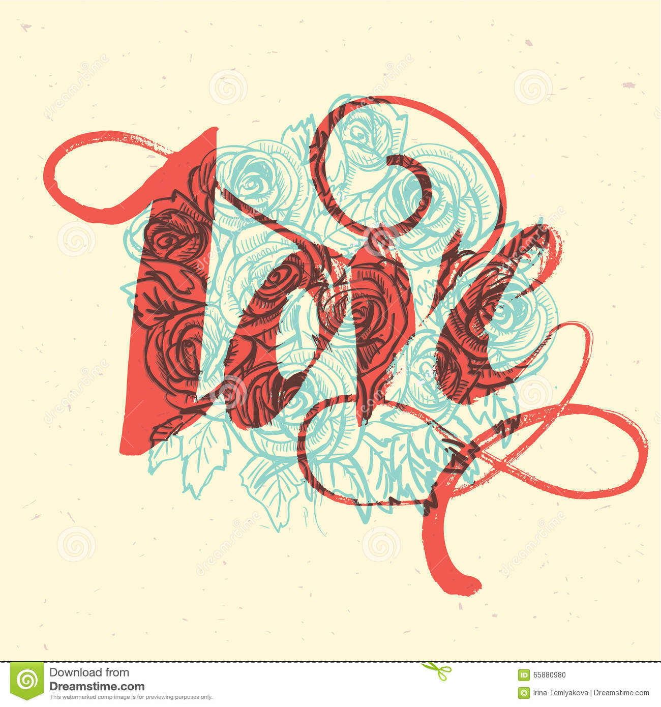 Floral Card With Love Word Made Of Flowers Stock Vector ...