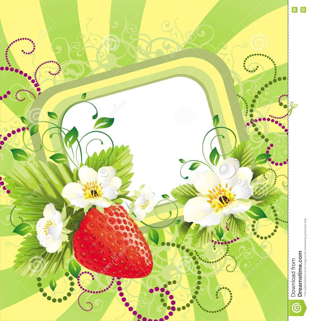 Floral Card With Strawberry Stock Vector