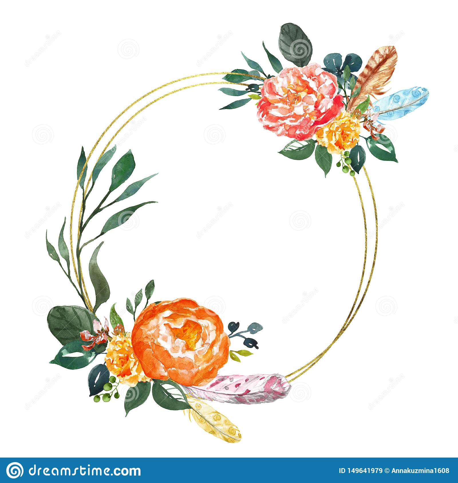 Floral Card Temlate In Bohemian Style Gold Hoop Wreath With Watercolor Pink And Orange Peony And Green Leaf Flowers Frame Stock Illustration Illustration Of Decorative Frame 149641979