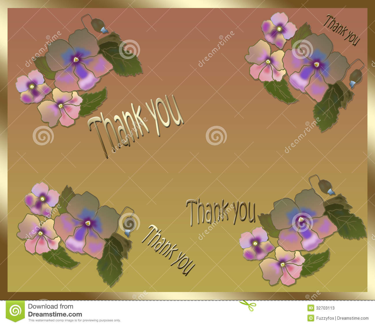 Beautiful Flower Thank You: Floral Card Thank You Stock Photos