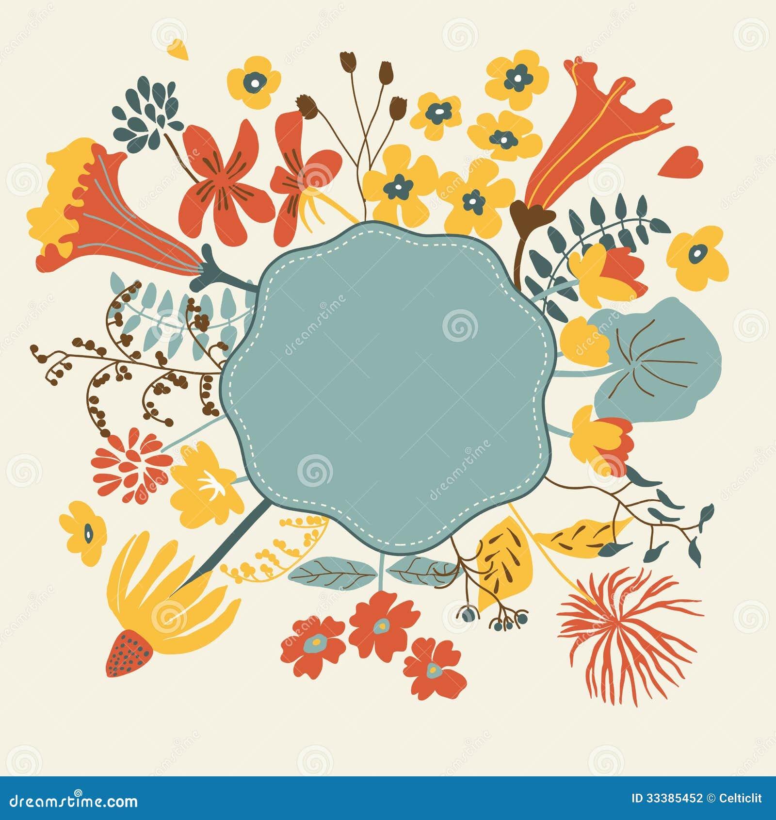 Floral Cartoon Card Stock Photography - Image: 33385452