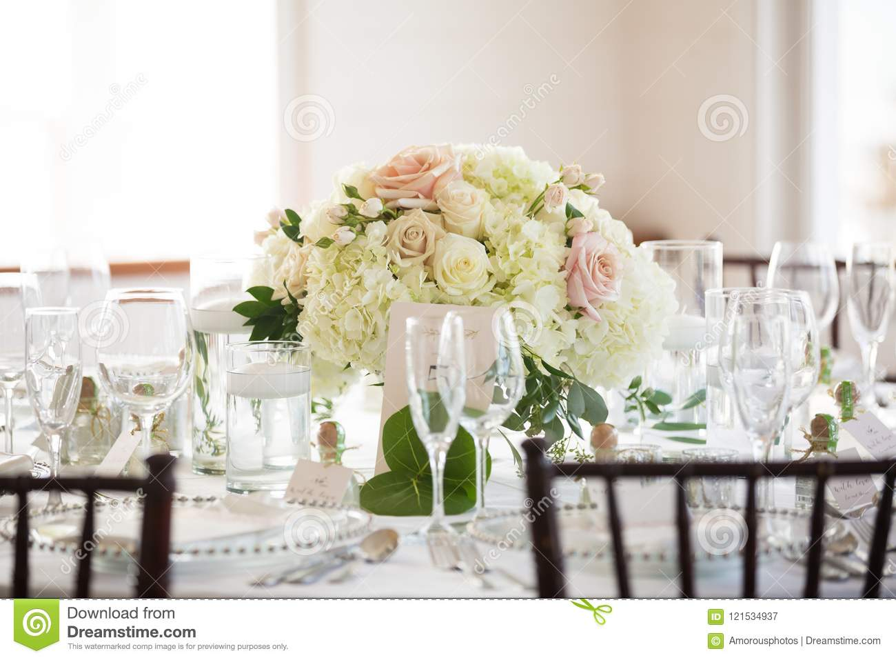 Floral Centerpiece On Wedding Reception Table Stock Image Image Of