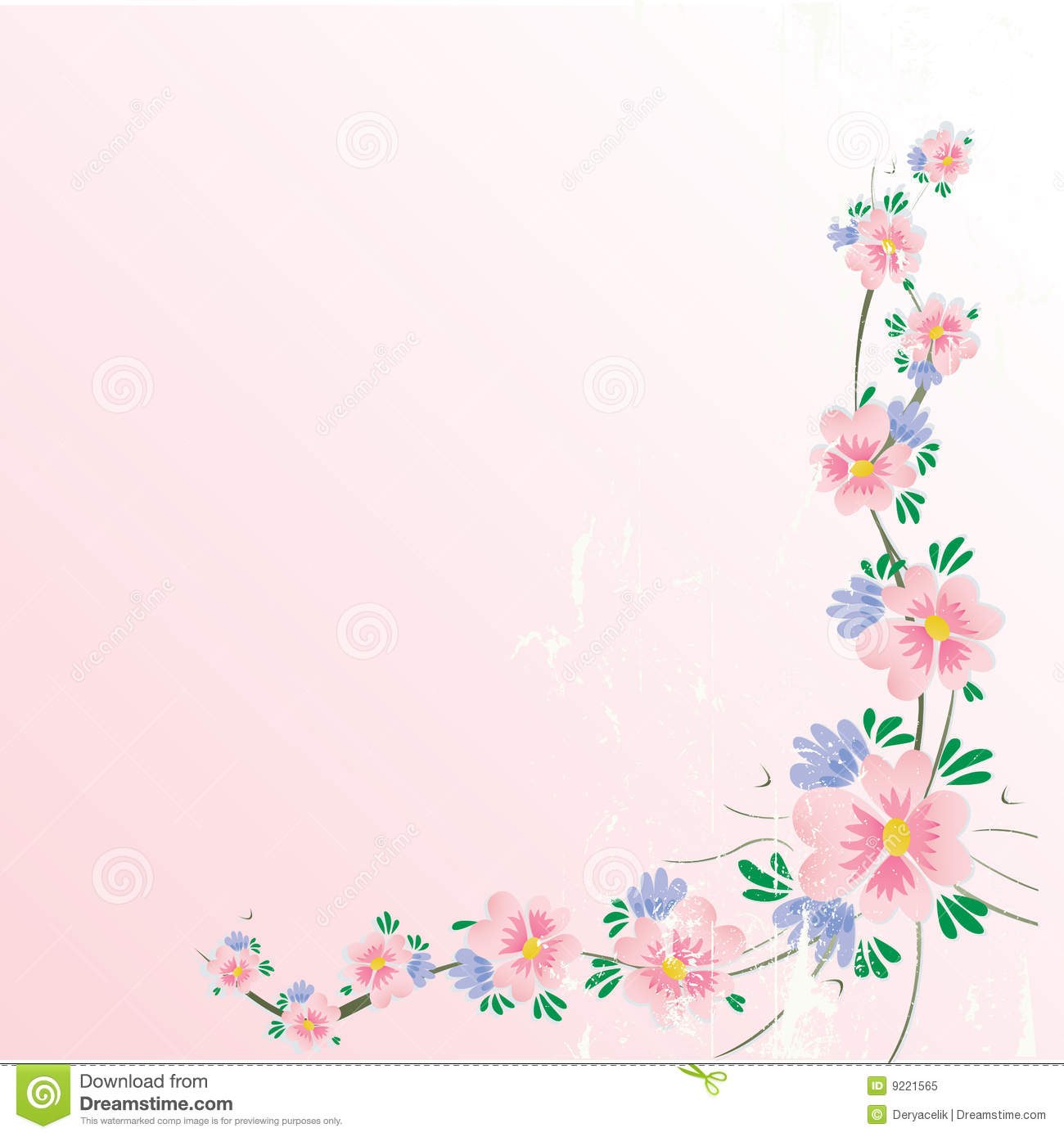 floral cherry blossom corner background with grung royalty