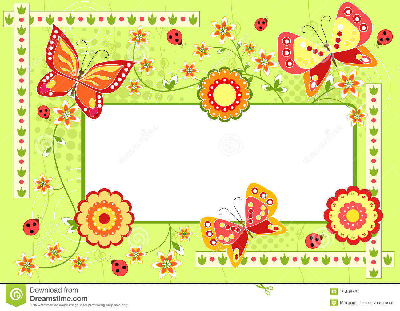Floral Children`s Frame With Butterfly. Stock Vector - Illustration ...