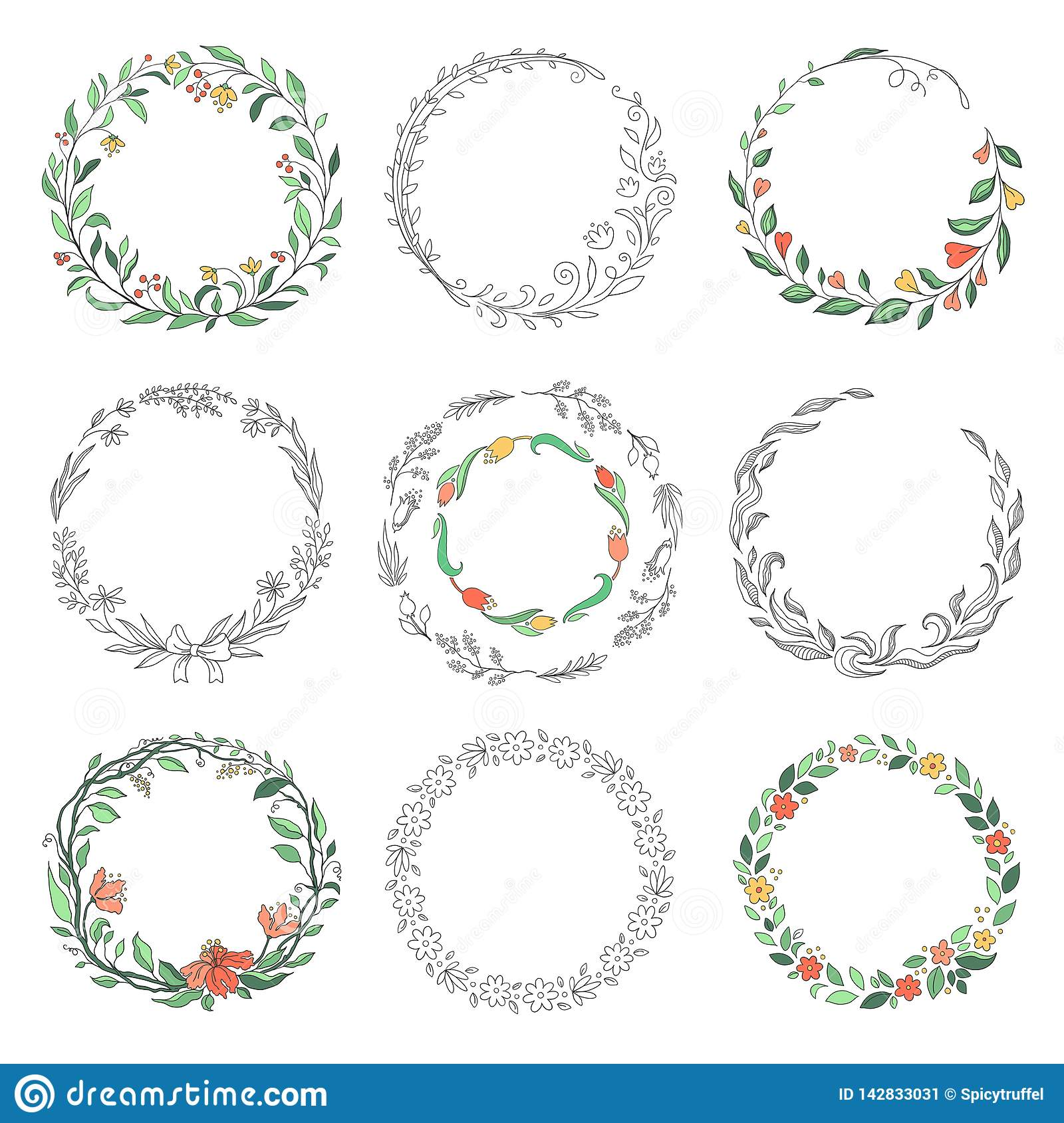 Floral circle doodle frames. Hand drawn linear round borders, florist vintage design elements. Vector doodle circular