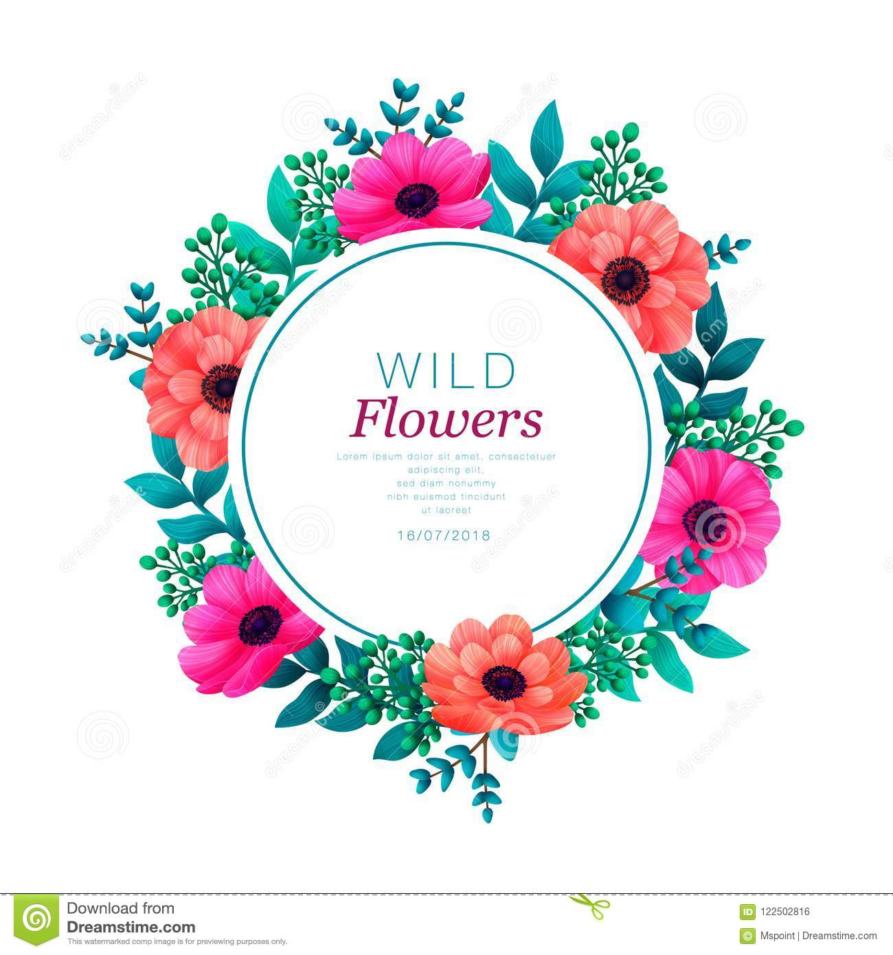 Floral circle frame. Tropical flowers trendy template. Summer Design with beautiful flowers and leaves with copy space
