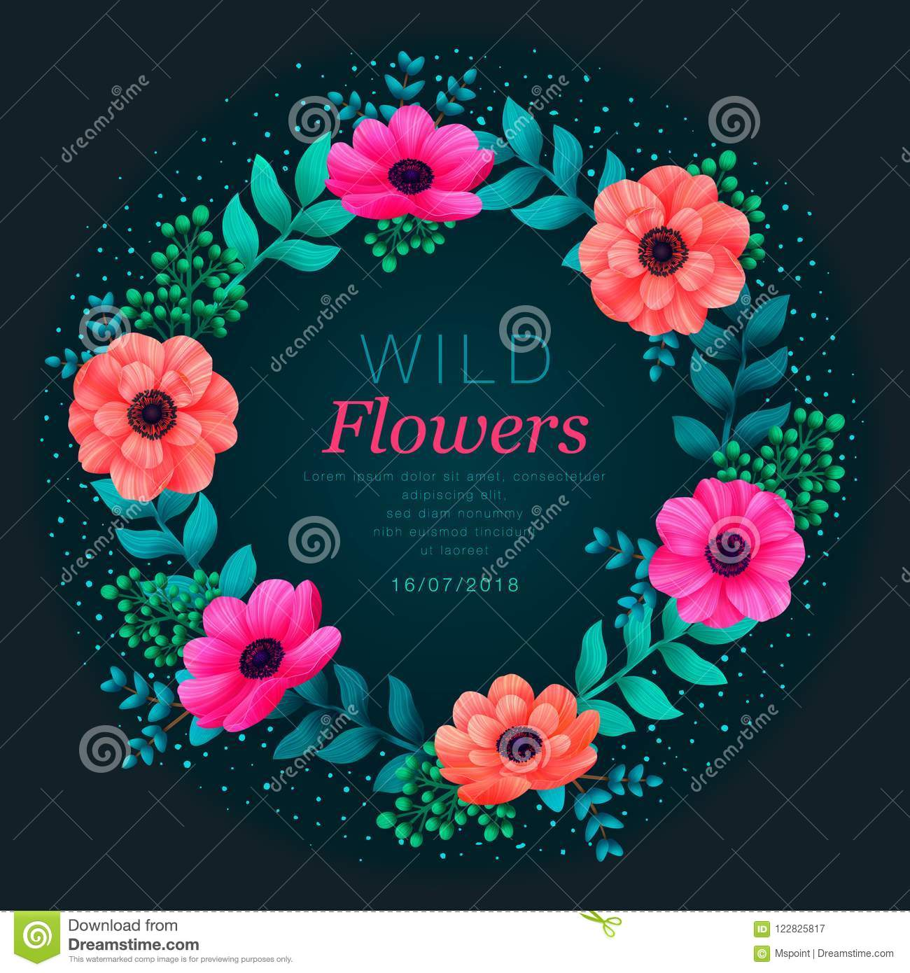 Floral circle frame. Tropical flowers trendy template. Summer Design with beautiful neon flowers and leaves with copy