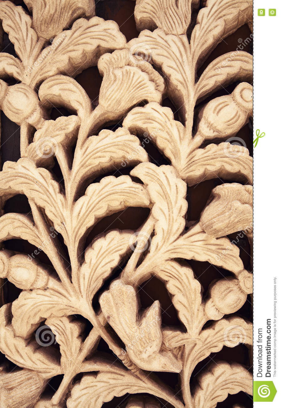 Floral Clay Carving Sienna Pattern Ornament. Flower Wall Decoration ...