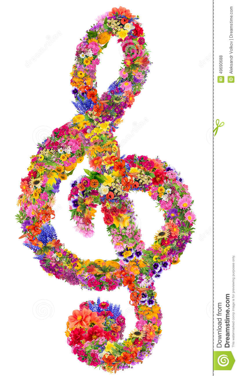 Abstract sign of a musical treble clef made from flowers. Isolated ...