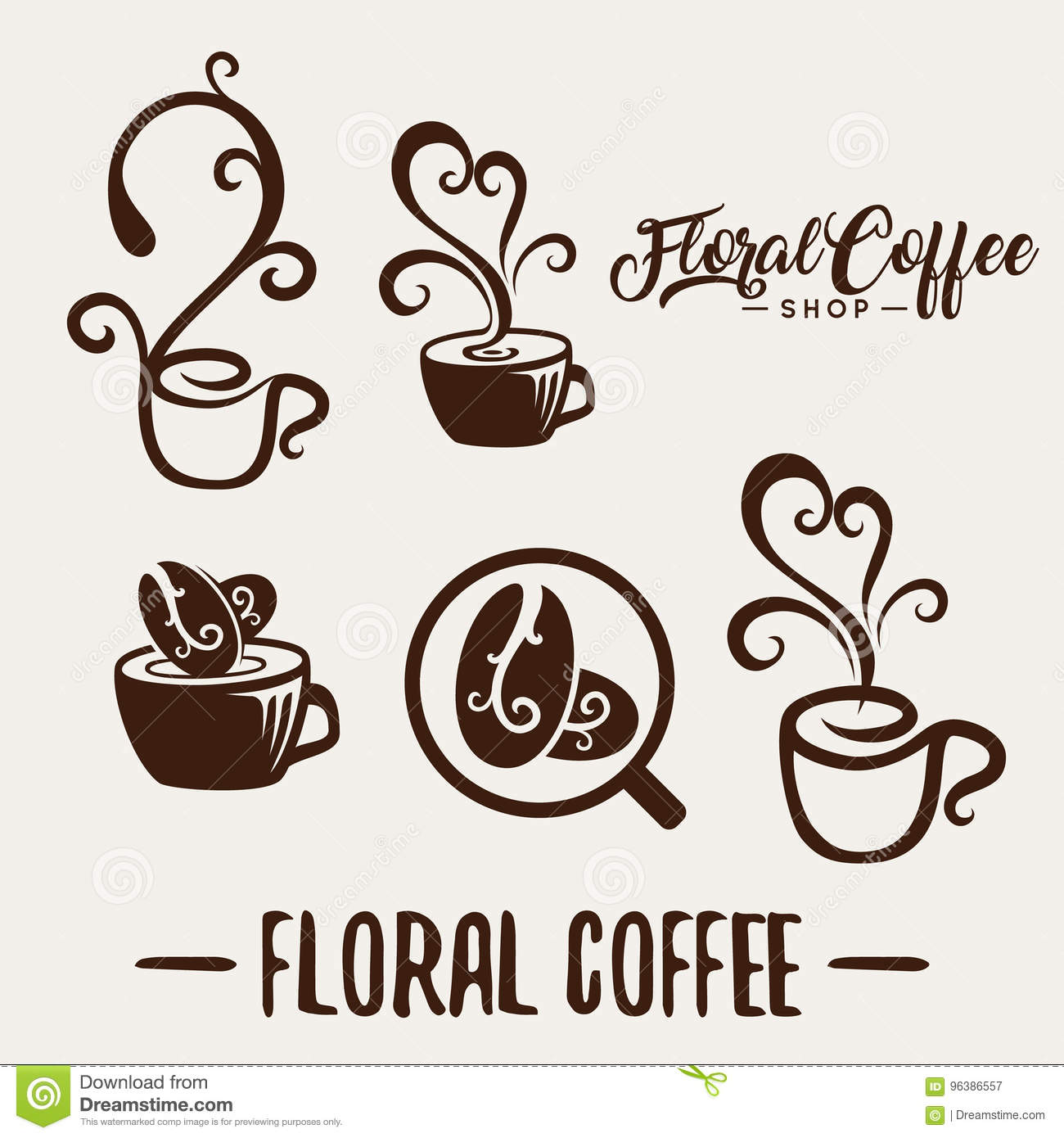 Floral Coffee Shop Logo Template Natural Abstract Coffee Cup Stock Vector Illustration Of Identity Curve 96386557