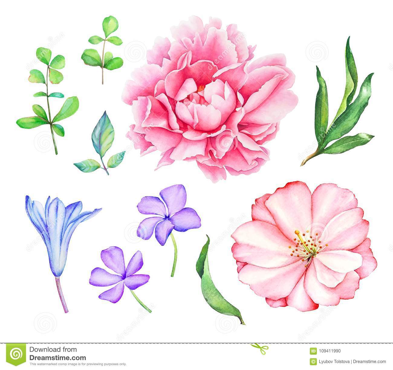Floral collection with pink and blue flowers stock illustration floral collection with pink and blue flowers izmirmasajfo