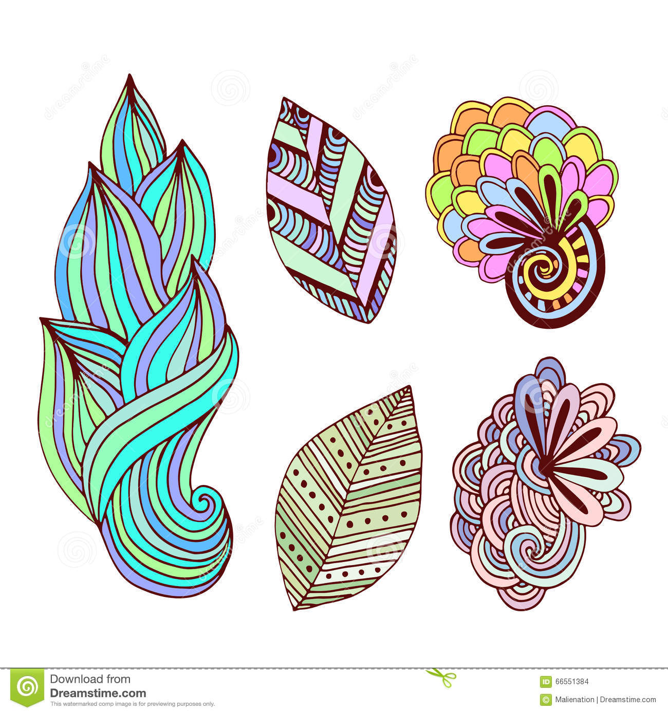 Floral Collection In Zentangle Style Hand Drawn Vector Set With