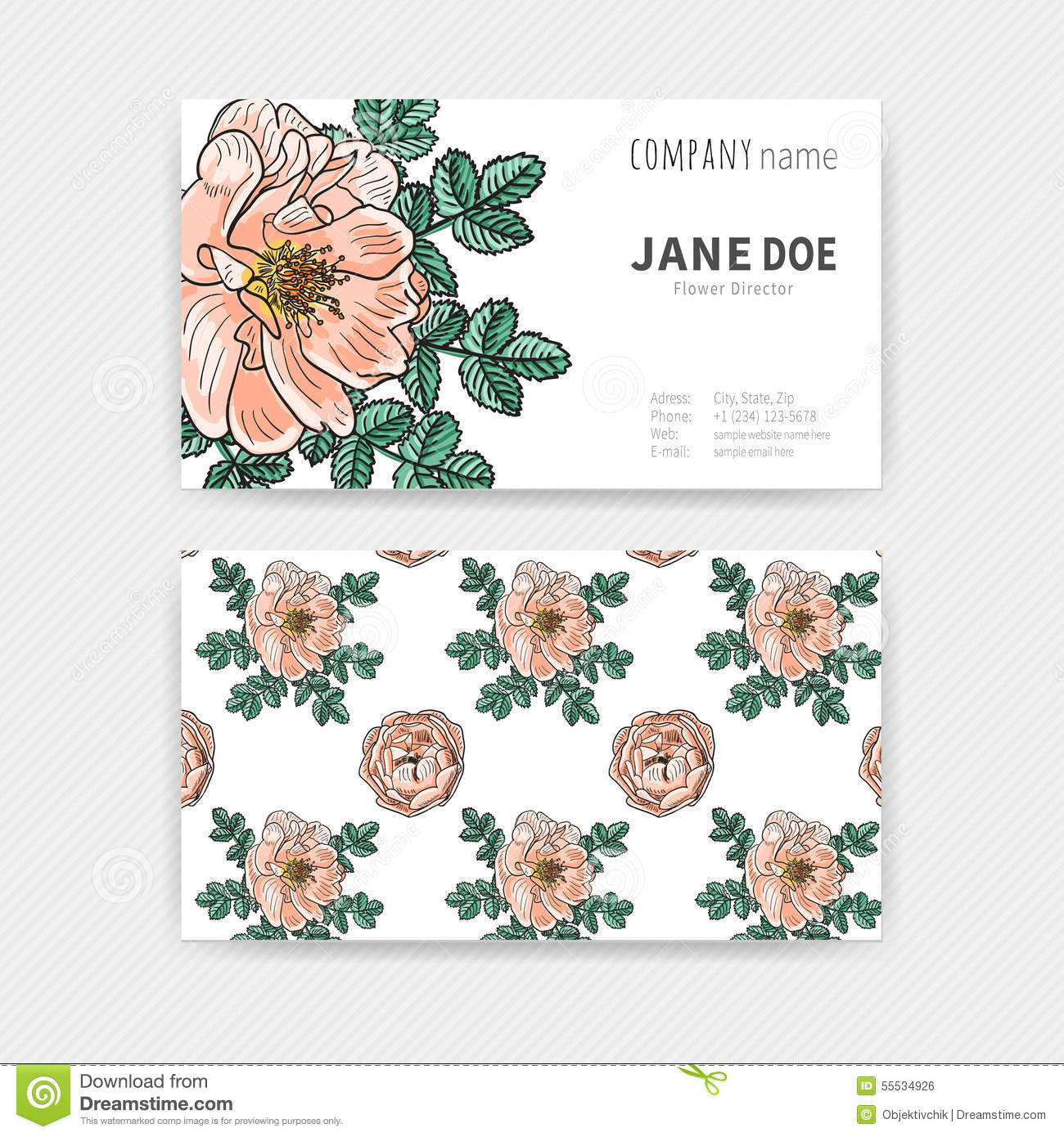 Floral Color Business Cards Stock Vector - Illustration of black ...