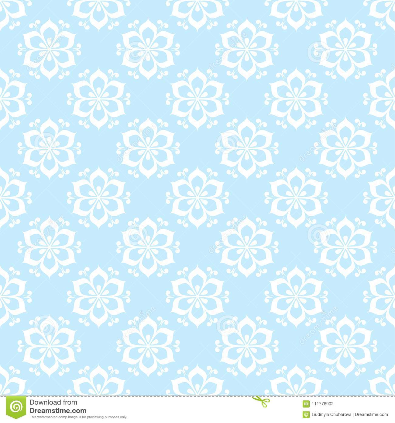 Floral colored seamless pattern. Blue and white background with fower elements for wallpapers