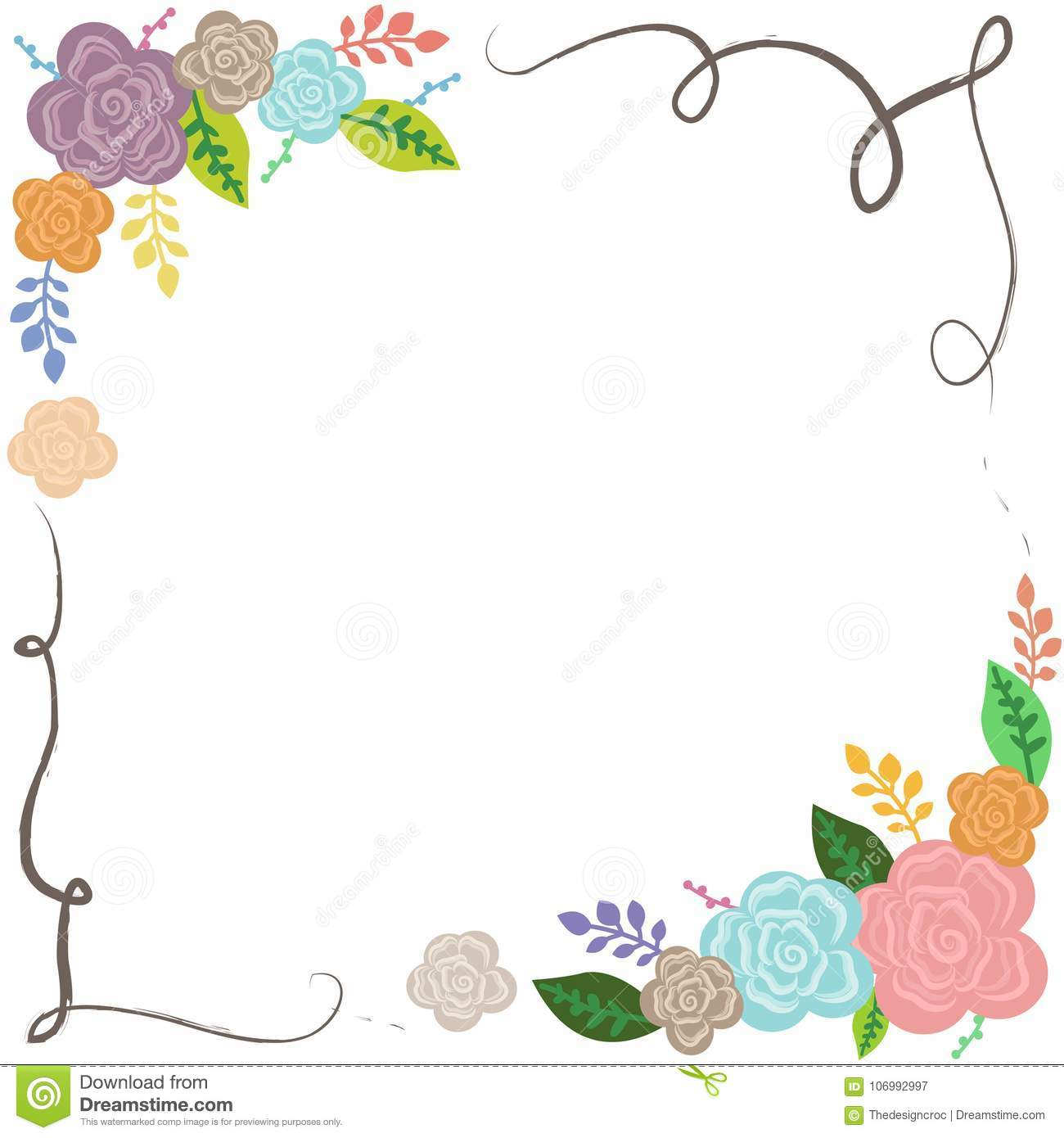 Floral Colorful Frame Wedding Poster Card Diary Cover Backdrop ...