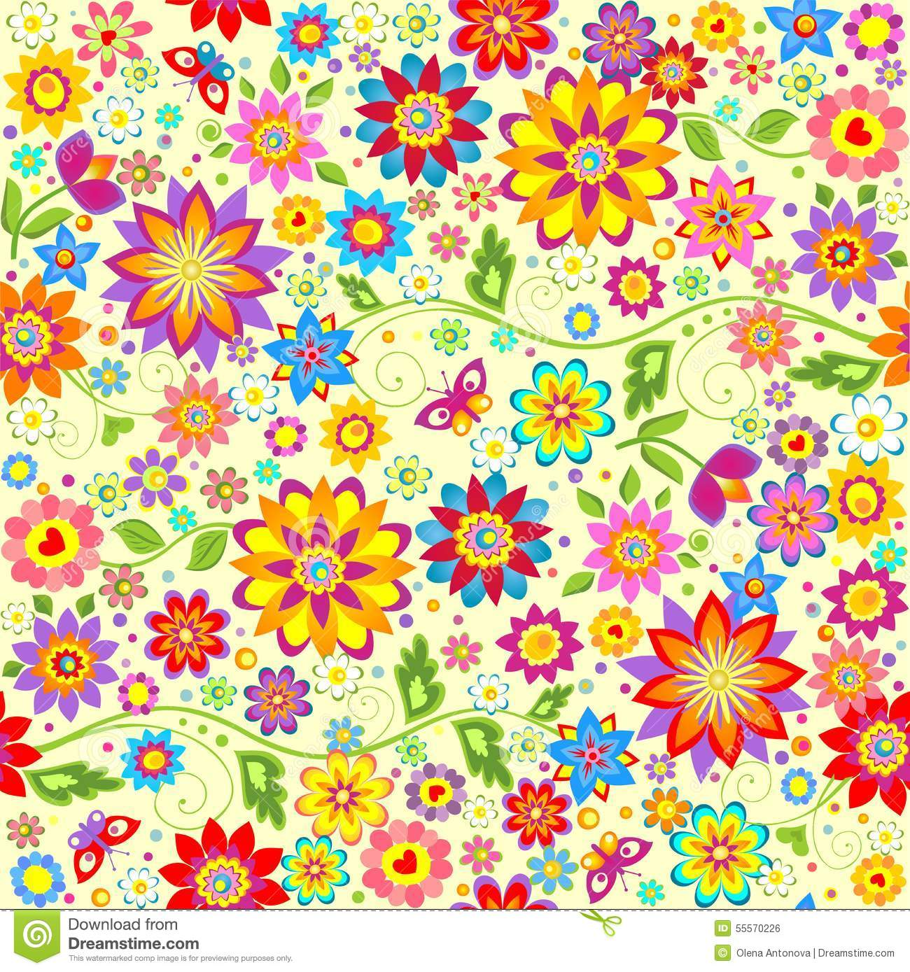 Floral colorful wallpaper stock vector. Illustration of easter ...