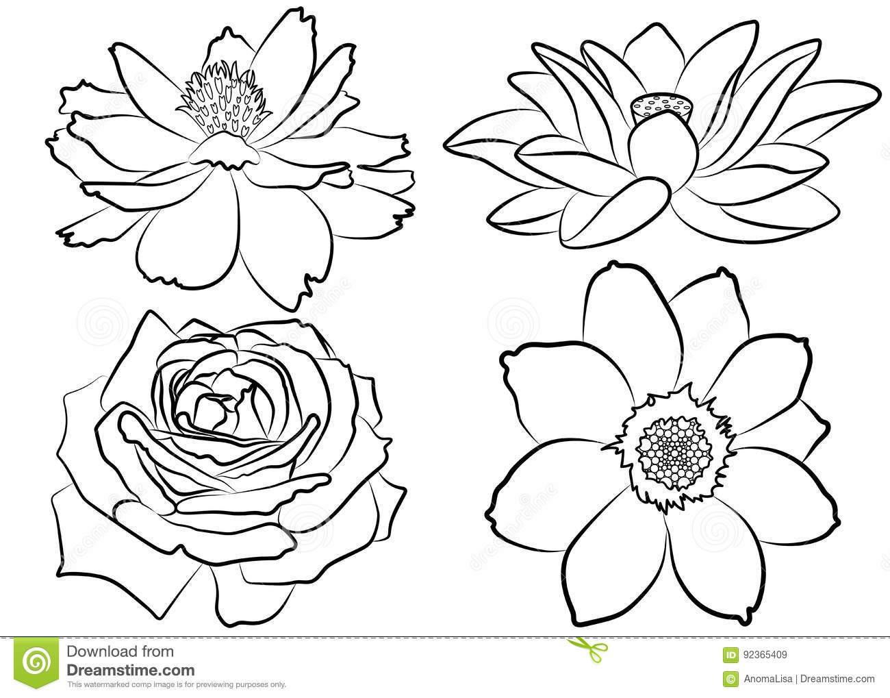 floral coloring page stock vector illustration of abstract 92365409