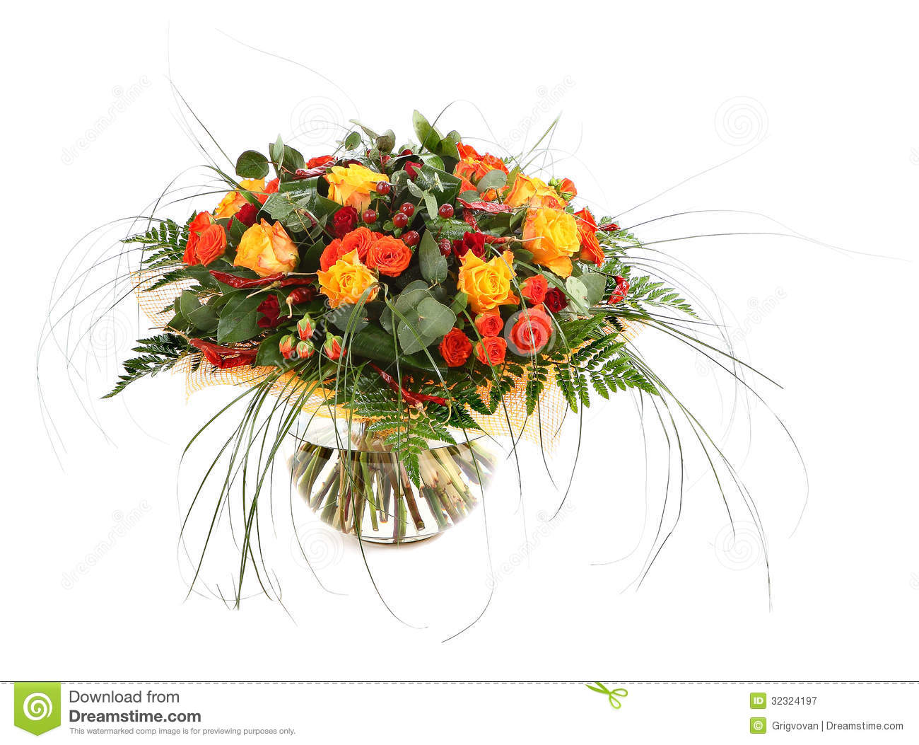 Floral Composition Of Orange Roses Hypericum And Fern Flower