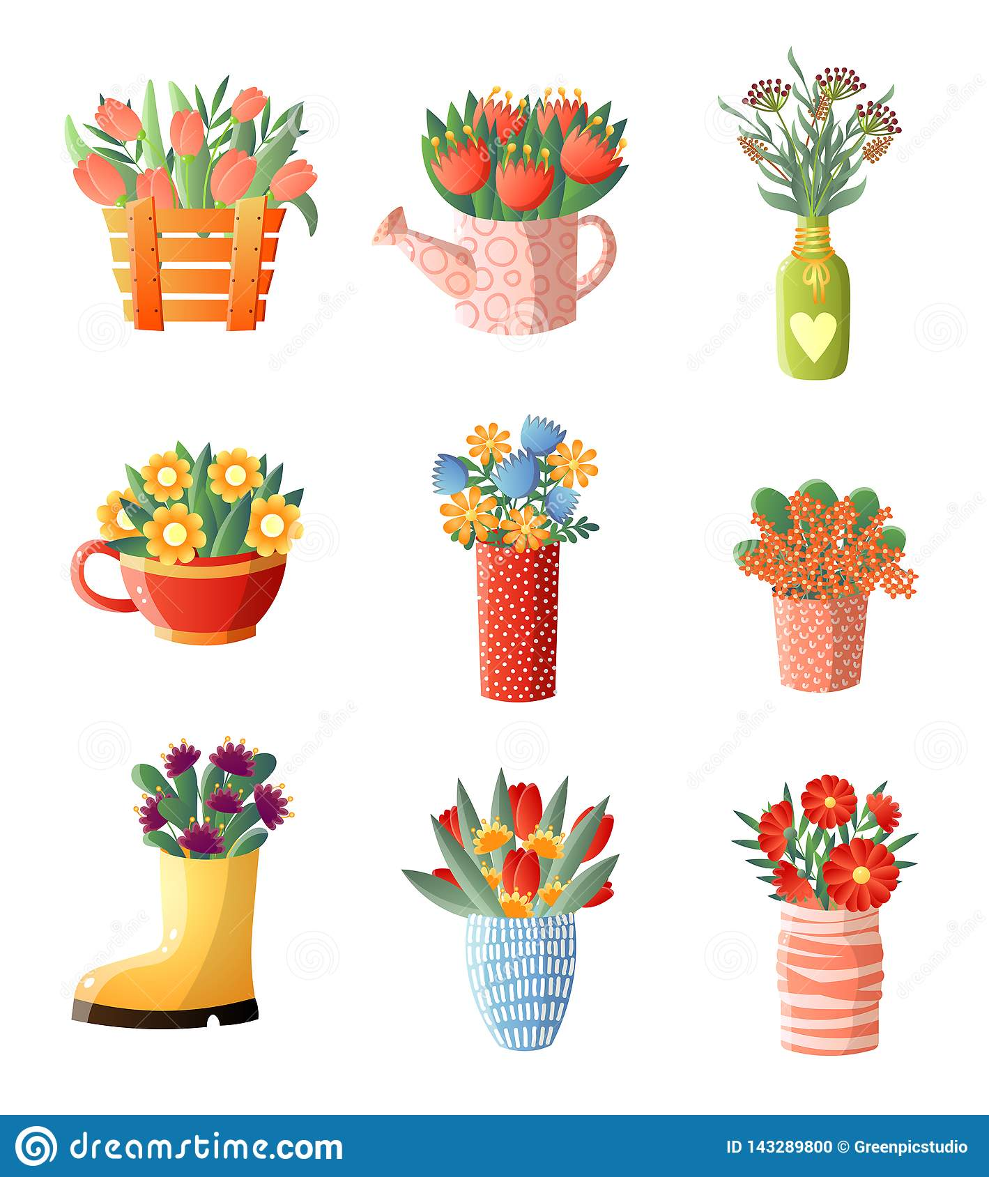 245 & Floral Composition Set Flowers In Vase Different Shapes And ...