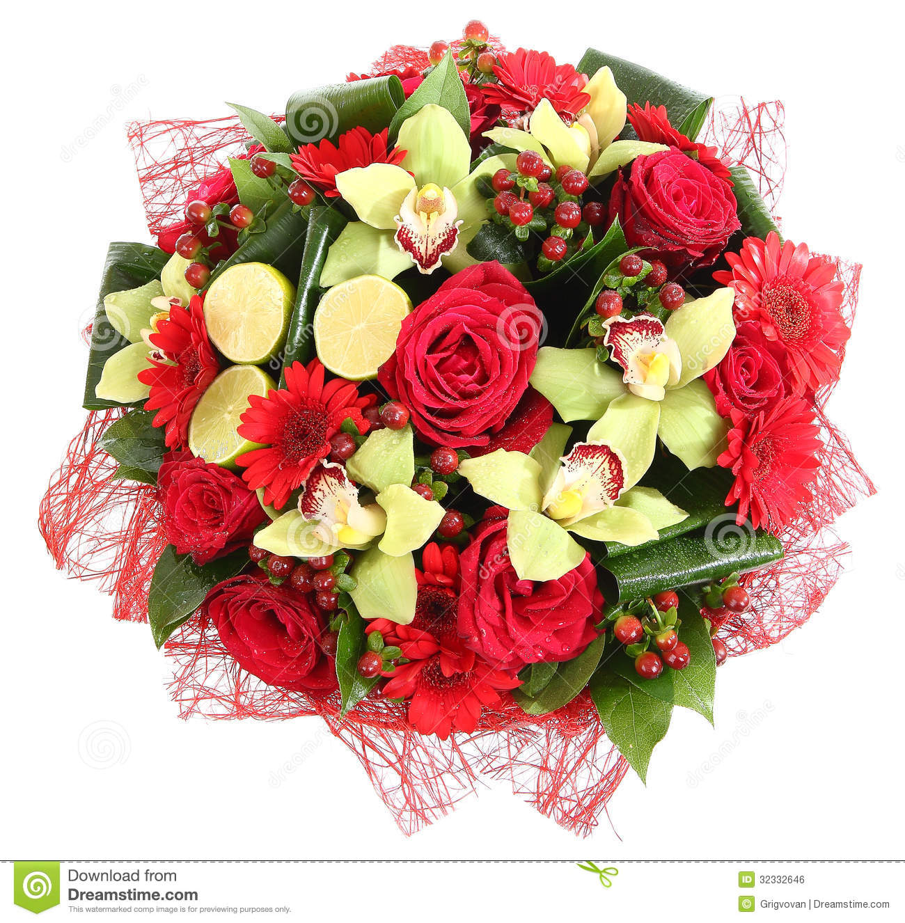Floral Compositions Of Red Roses, Red Gerberas And Orchids ...