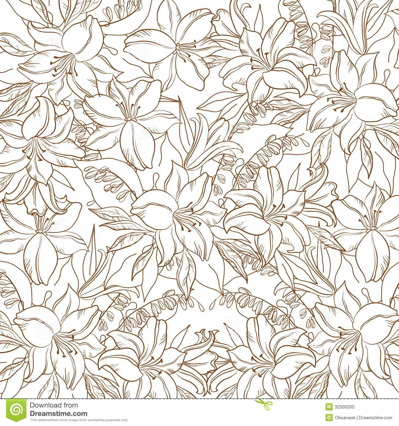 Floral Contour Pattern Lily And Mine Royalty Free Stock