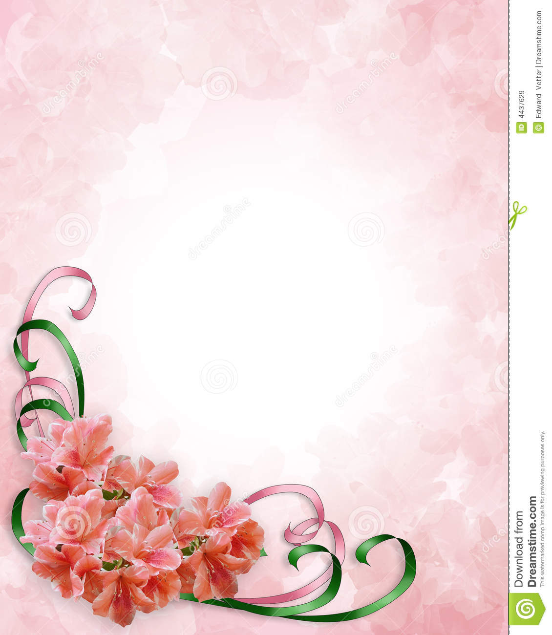 Illustration Composition For Wedding Invitation Mothers Day Or Easter Background Border Or Frame With Pink Azaleas Ribbons And Copy Space