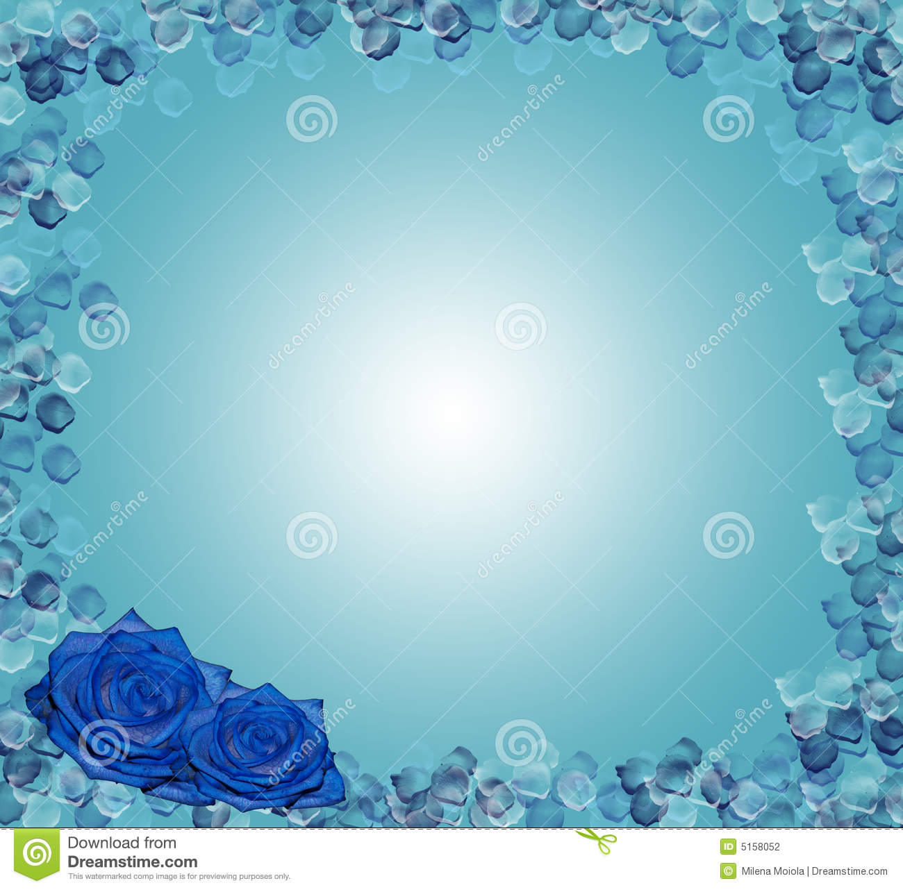 floral corner design blue roses stock photography