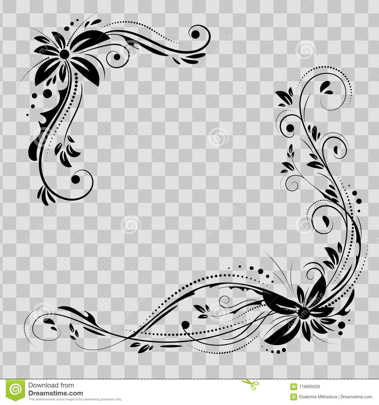 Floral corner design. Ornament black flowers on transparent background - vector stock. Decorative border with flowery