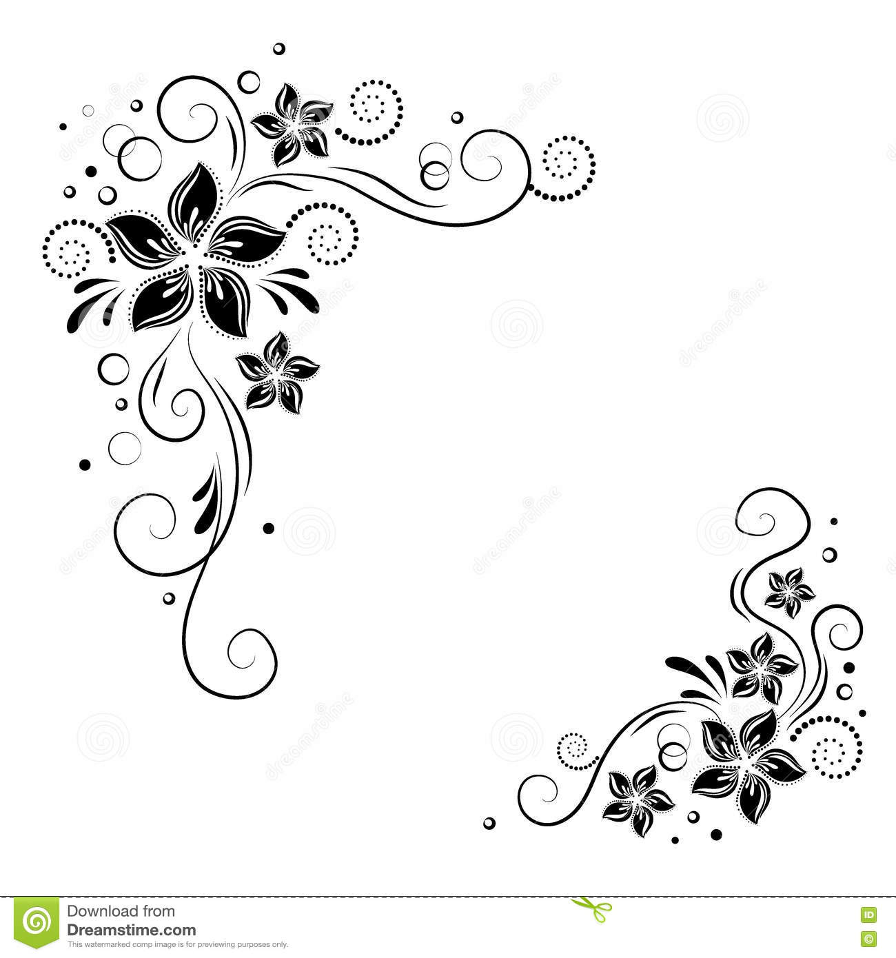 Flower Corner Border Black And White Png