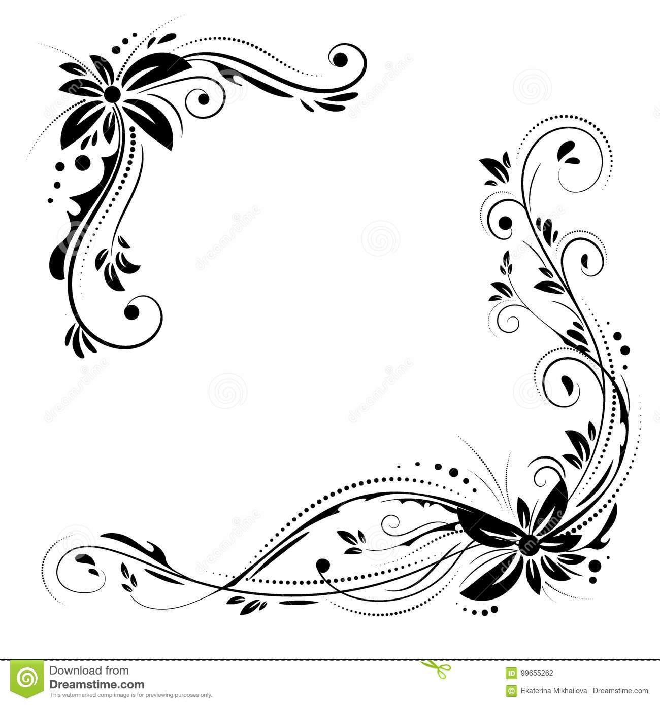 Decorative Black Flower Border Stock Image: Floral Corner Design. Ornament Black Flowers On White