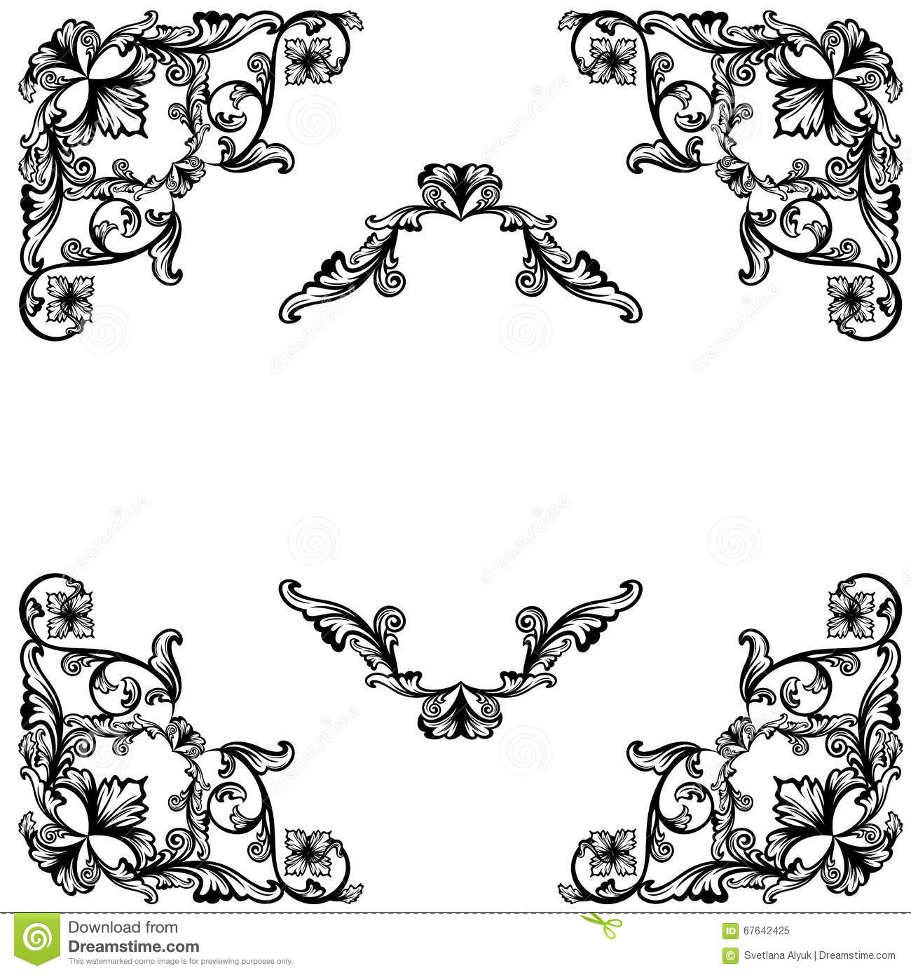 Floral Corners Design Stock Vector Illustration Of Decor 67642425